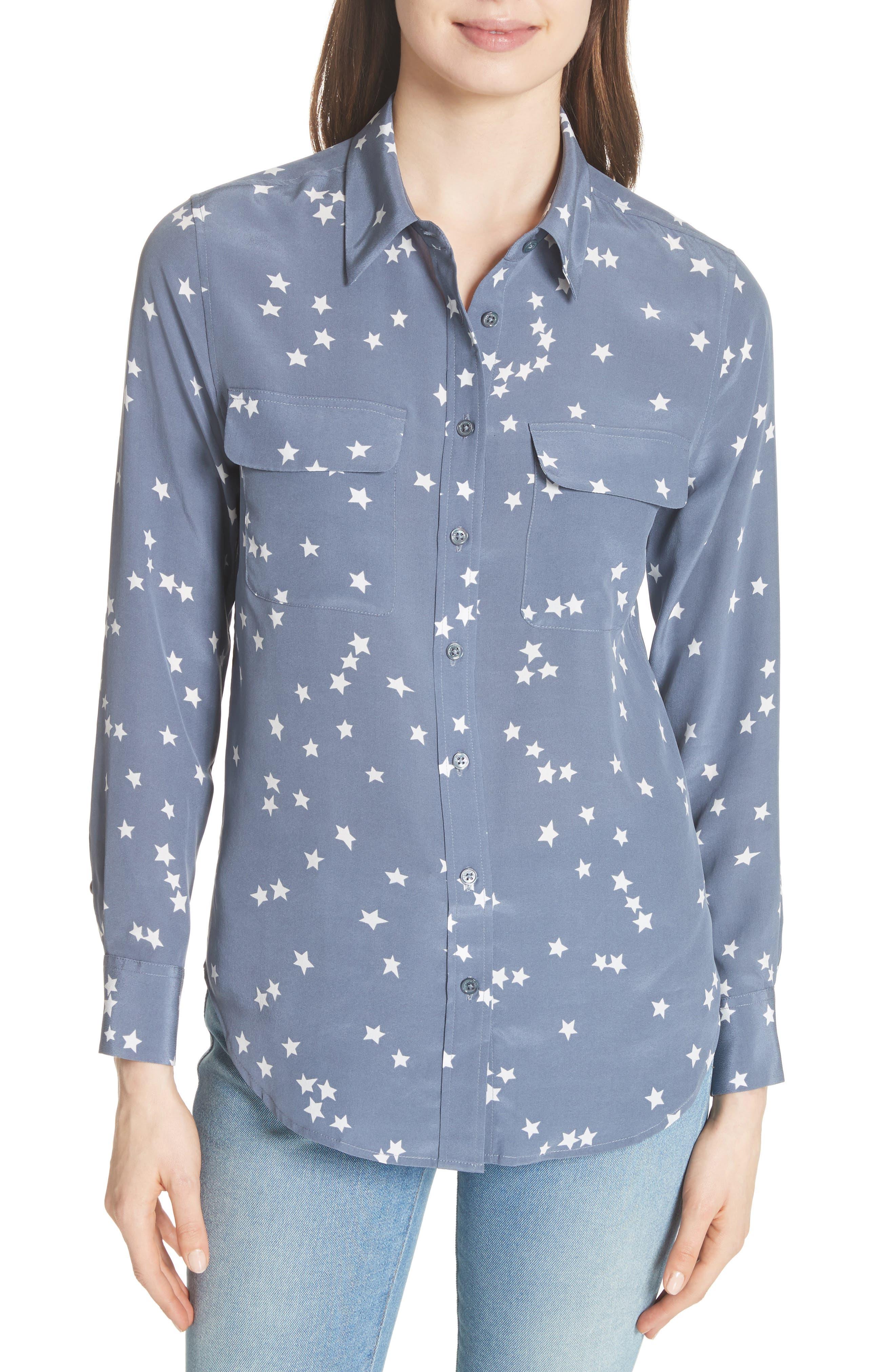 'Starry Night' Silk Shirt,                             Main thumbnail 1, color,                             Bluestone