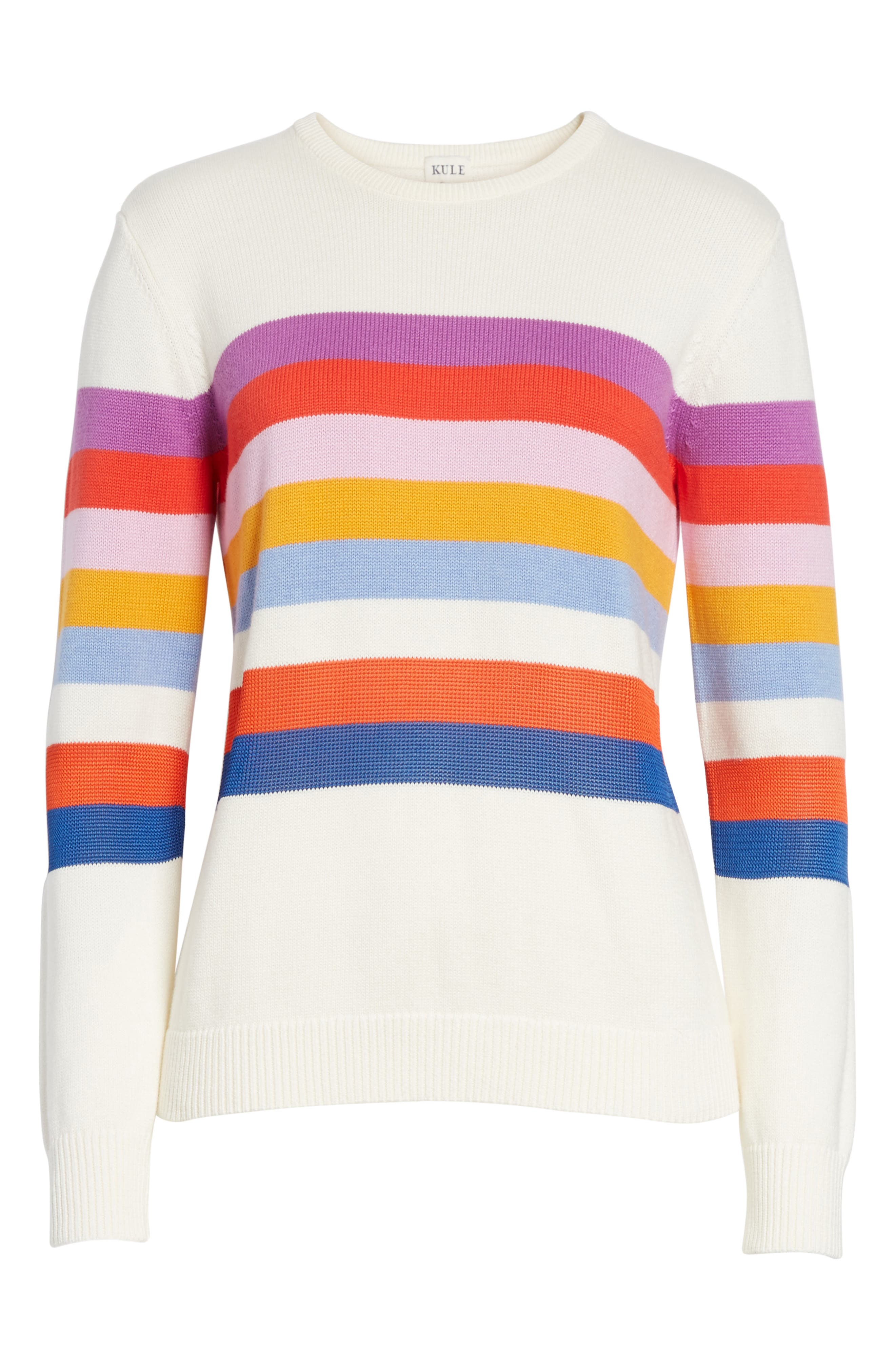 The Day Trip Stripe Sweater,                             Alternate thumbnail 6, color,                             Cream Multi