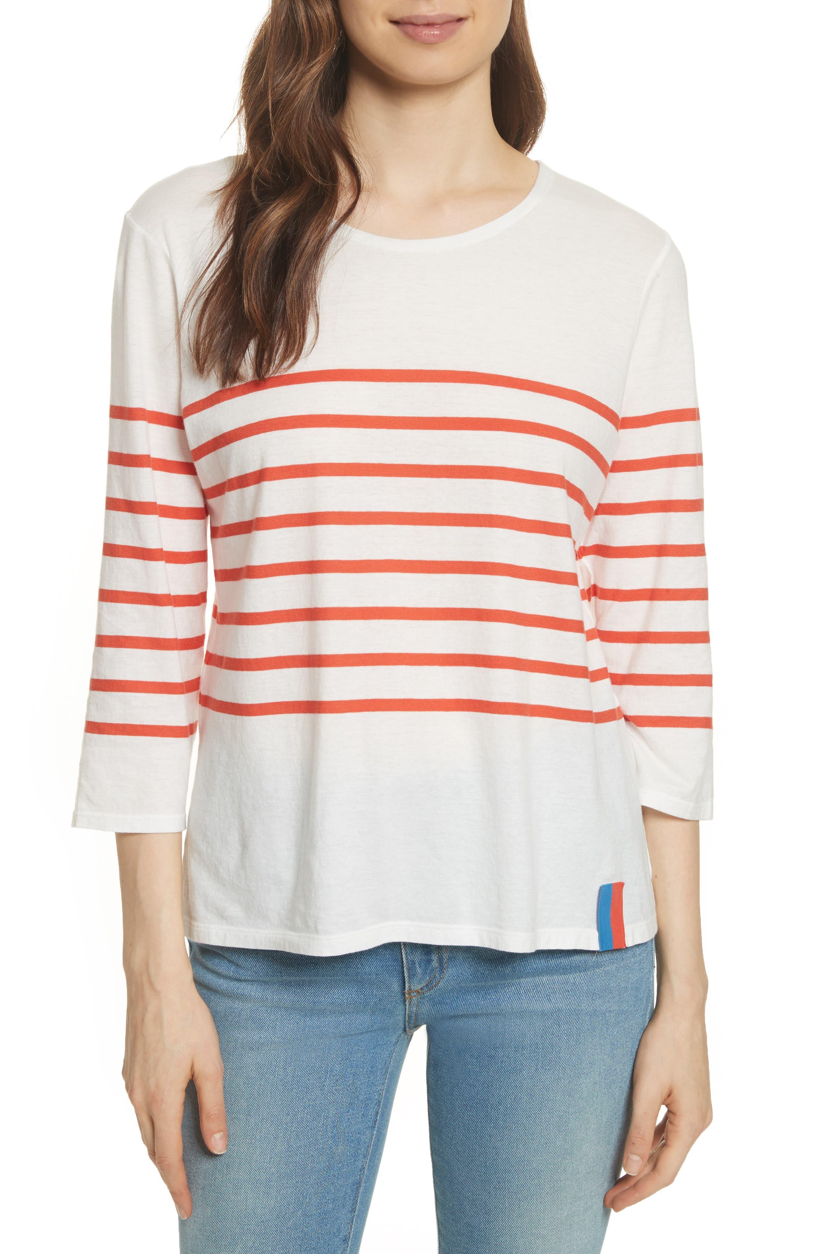 The Malibu Stripe Tee,                         Main,                         color, White/ Poppy