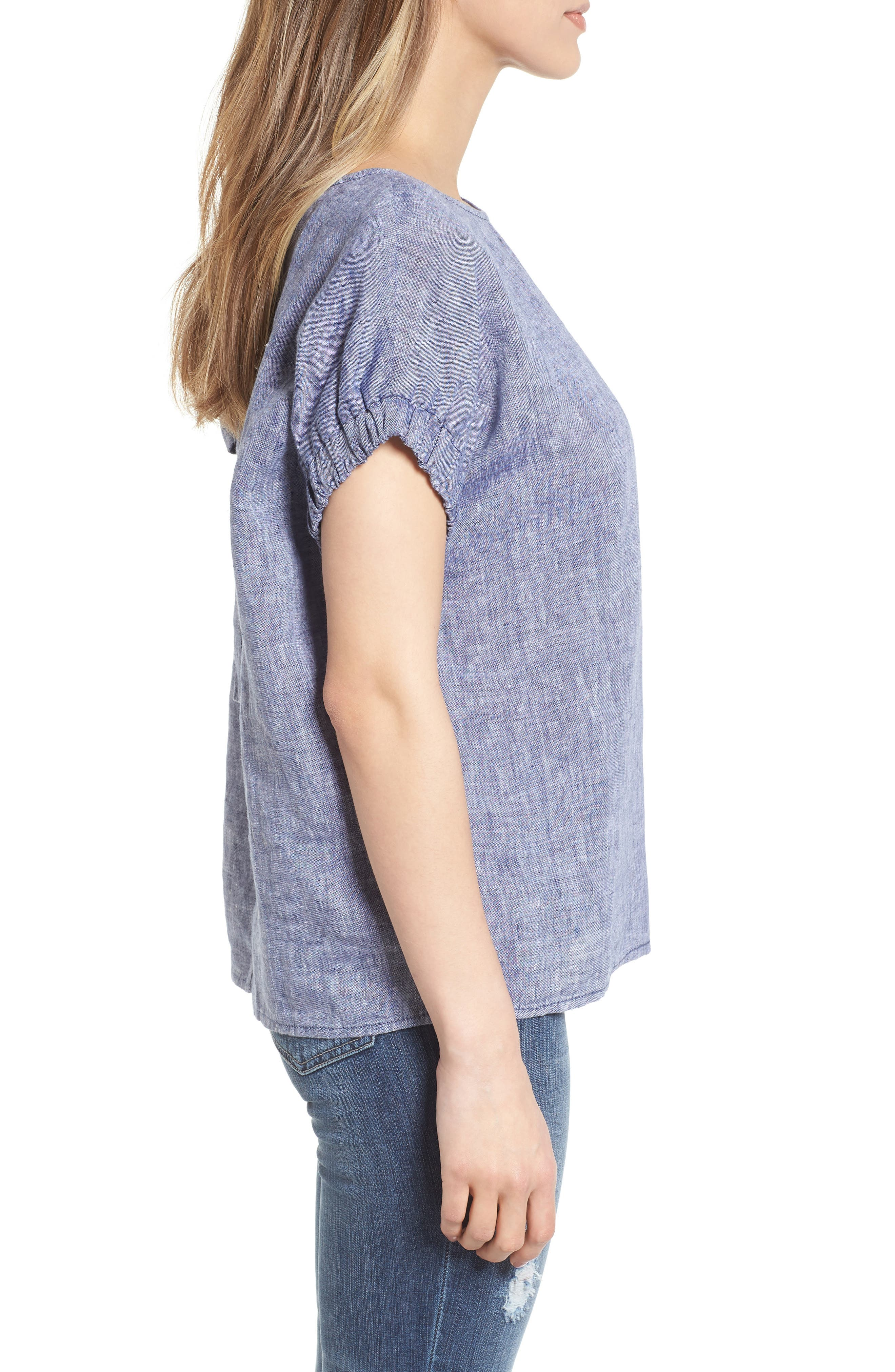 Linen Tie Back Blouse,                             Alternate thumbnail 3, color,                             Navy Crossdye