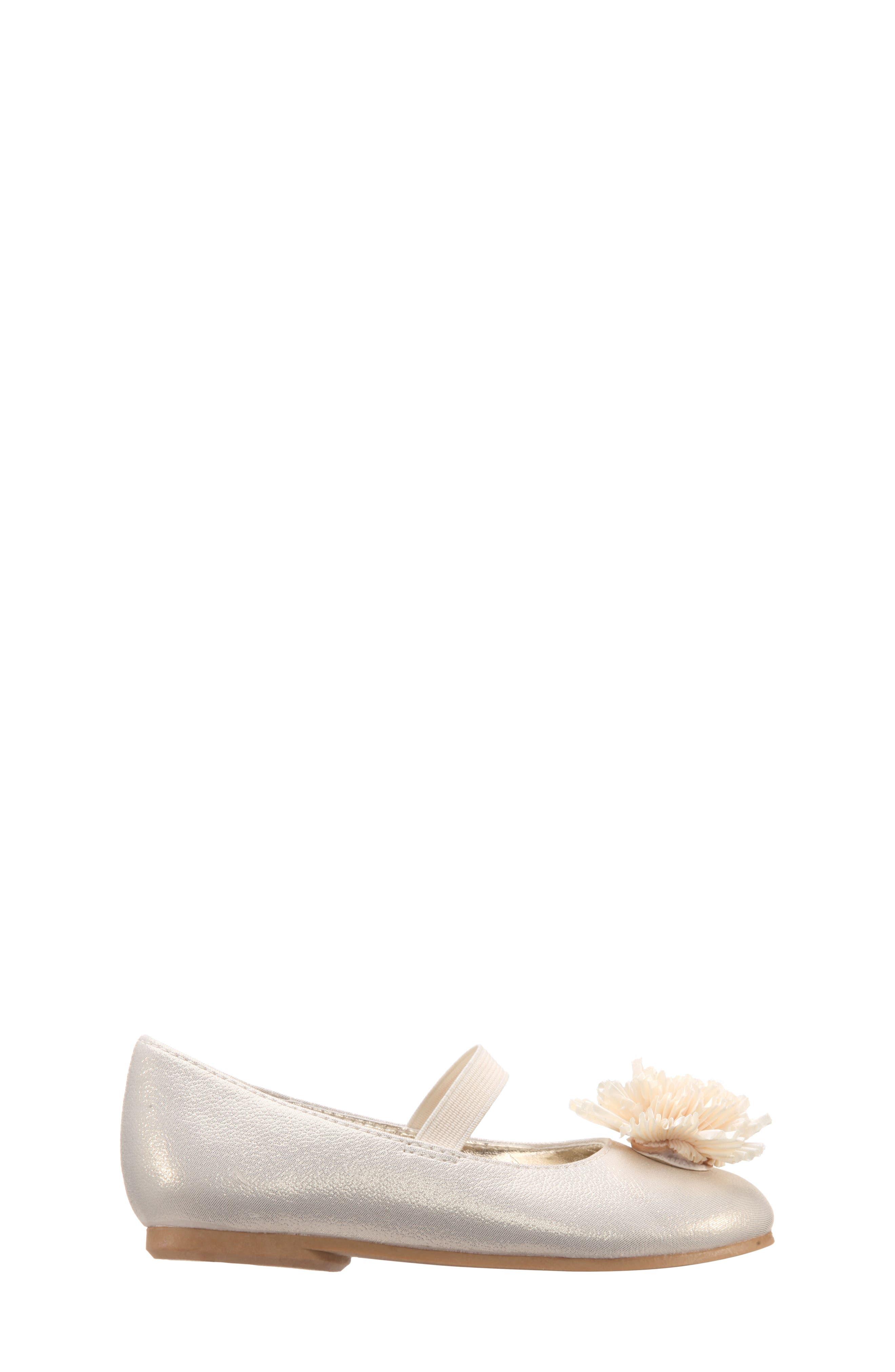 Jemma-T Bow Ballet Flat,                             Alternate thumbnail 3, color,                             Platino Metallic