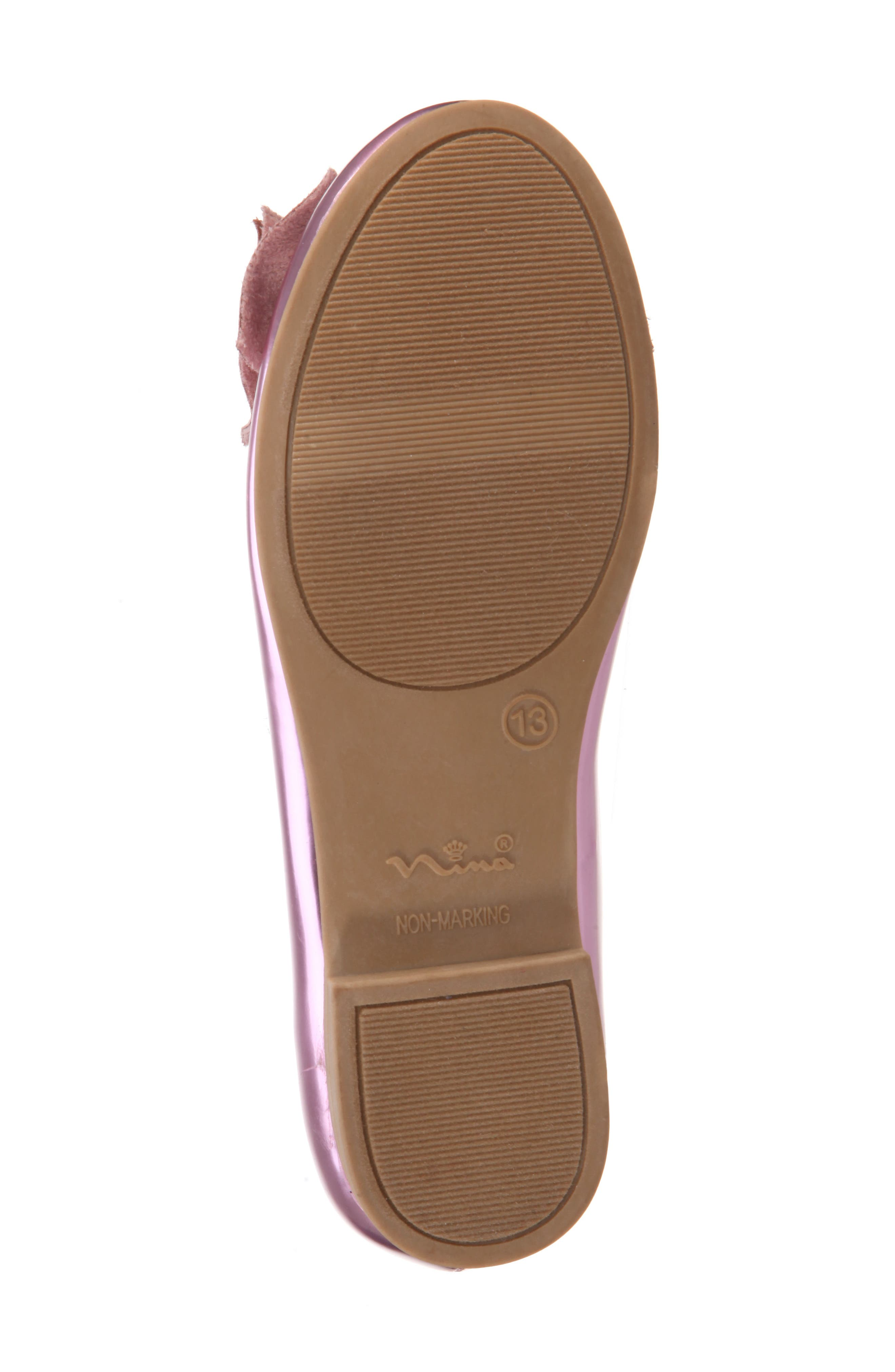 Katelyn Glitter Bow Metallic Ballet Flat,                             Alternate thumbnail 6, color,                             Pink Mirror Metallic