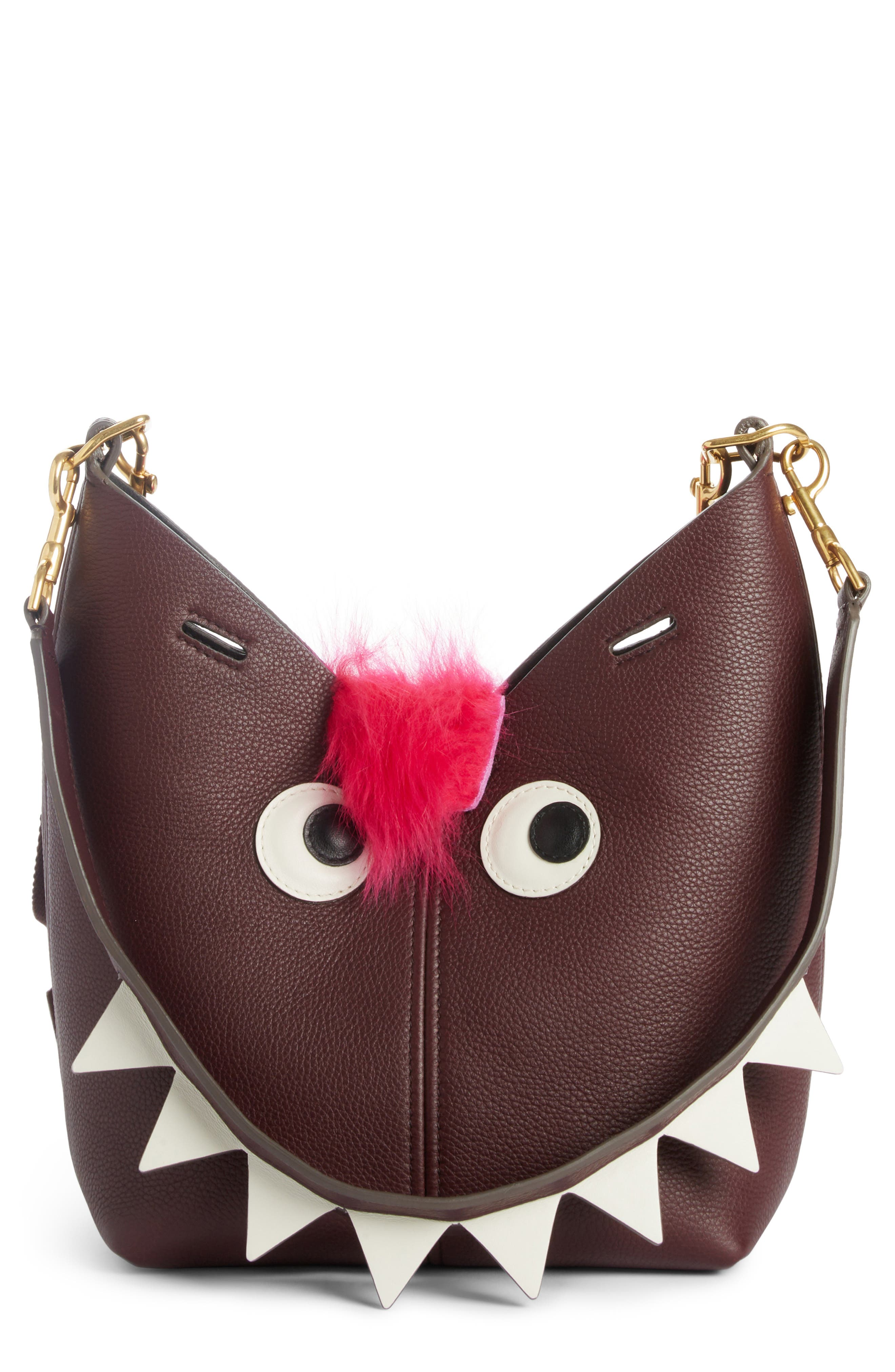 Main Image - Anya Hindmarch Build a Bag Mini Creature Leather Shoulder Bag with Genuine Shearling