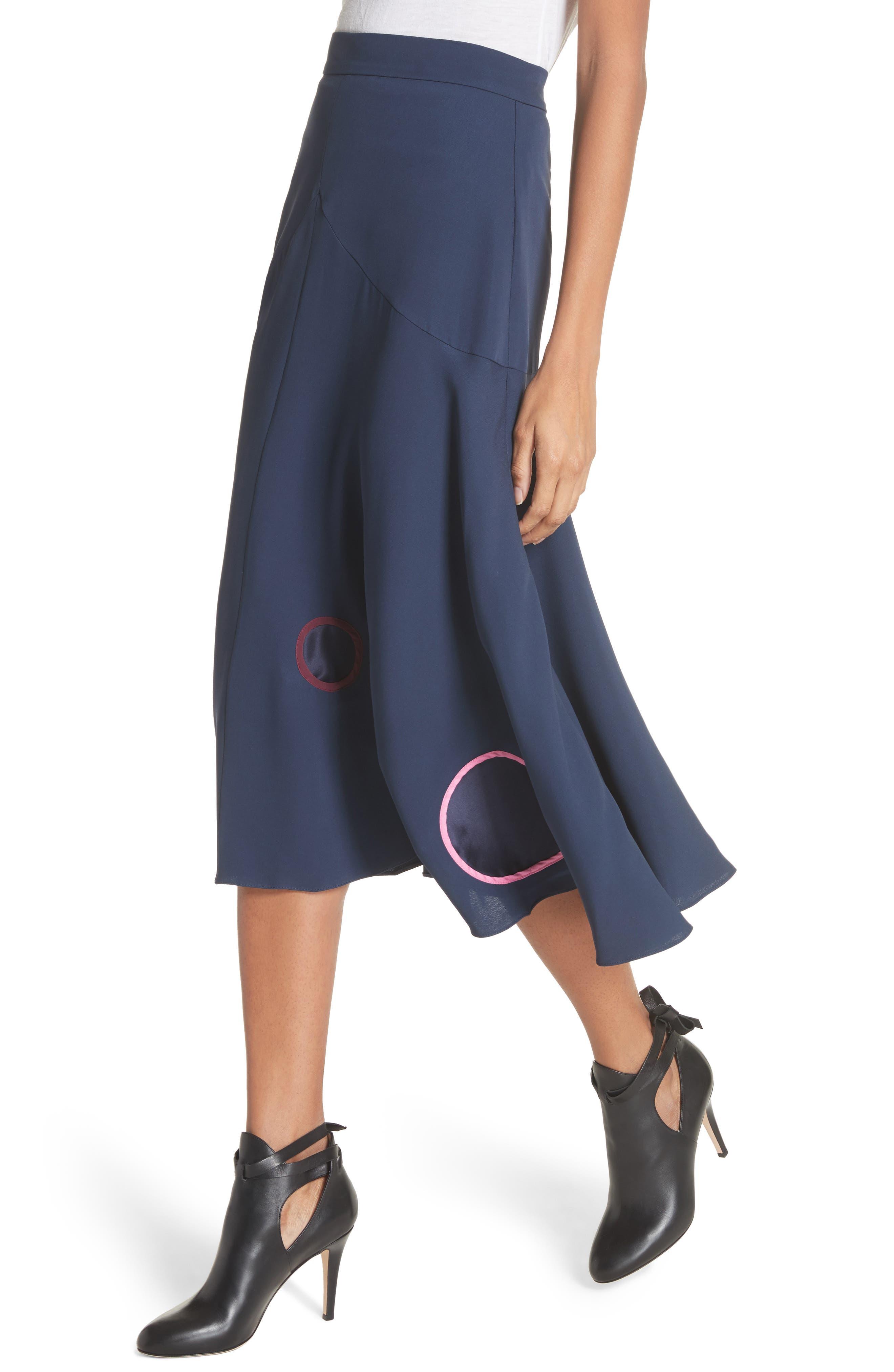 Carson Silk Skirt,                             Alternate thumbnail 4, color,                             Squid Ink