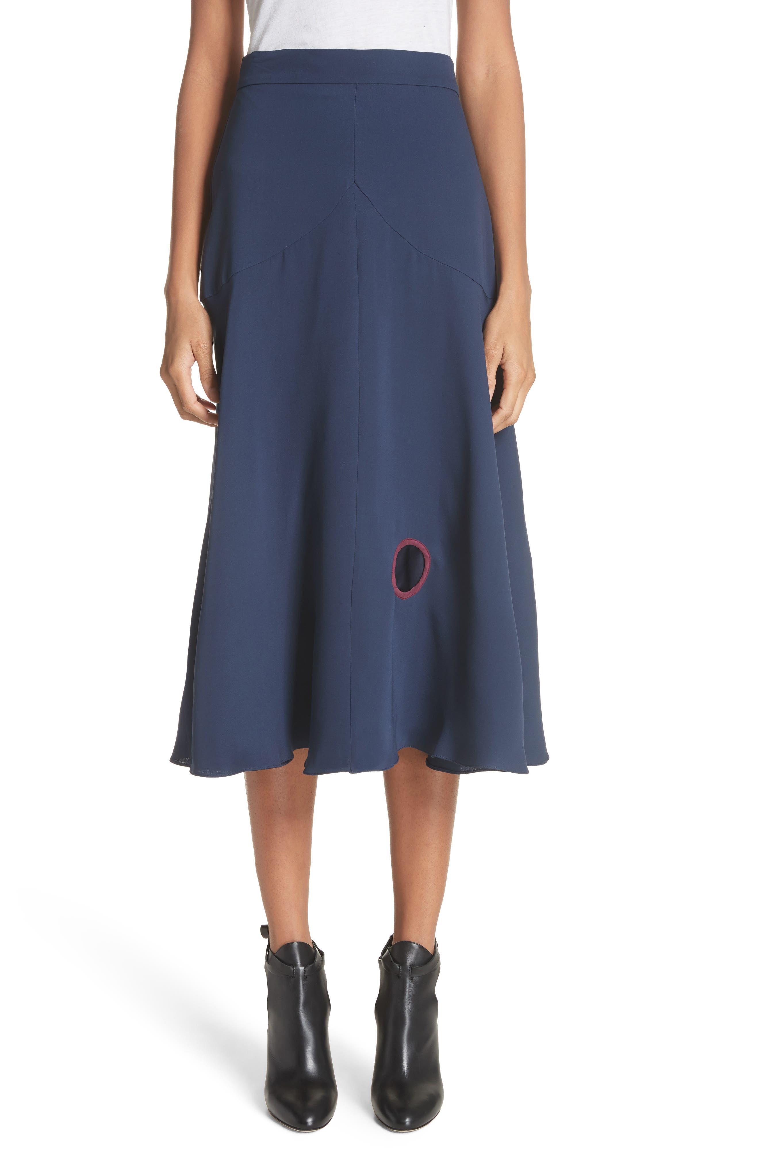 Carson Silk Skirt,                             Main thumbnail 1, color,                             Squid Ink