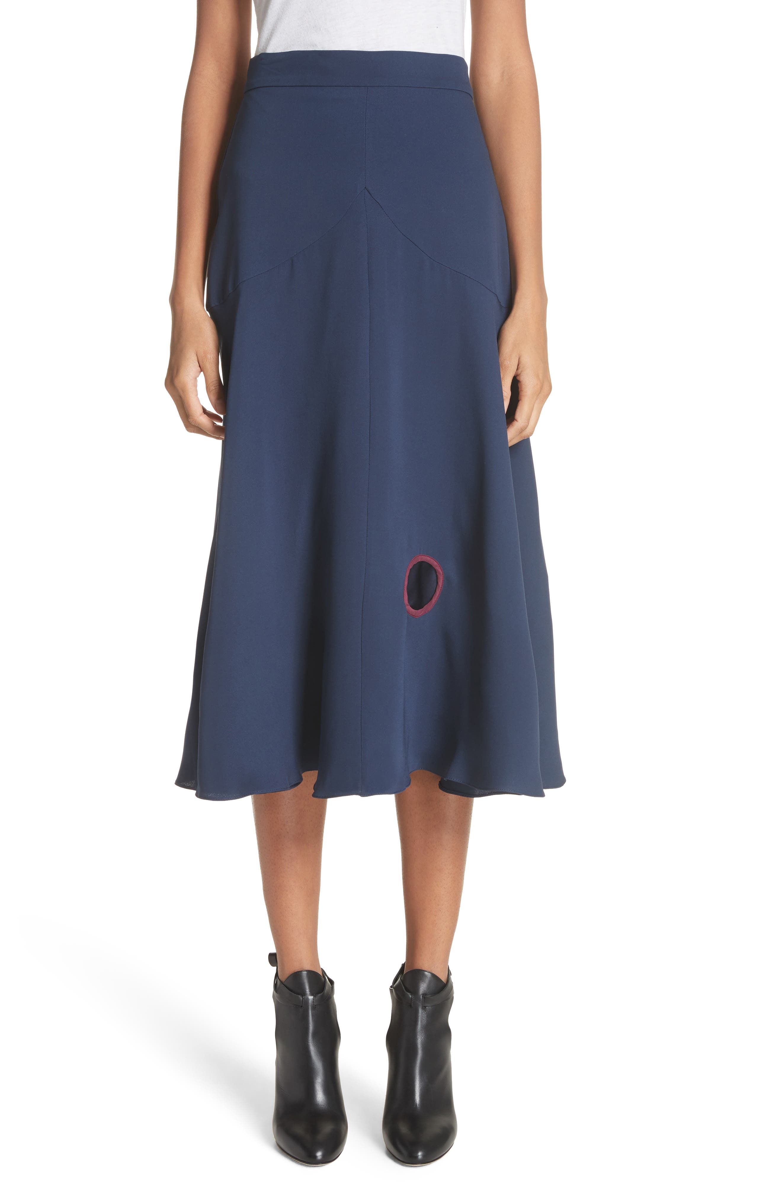 Carson Silk Skirt,                         Main,                         color, Squid Ink