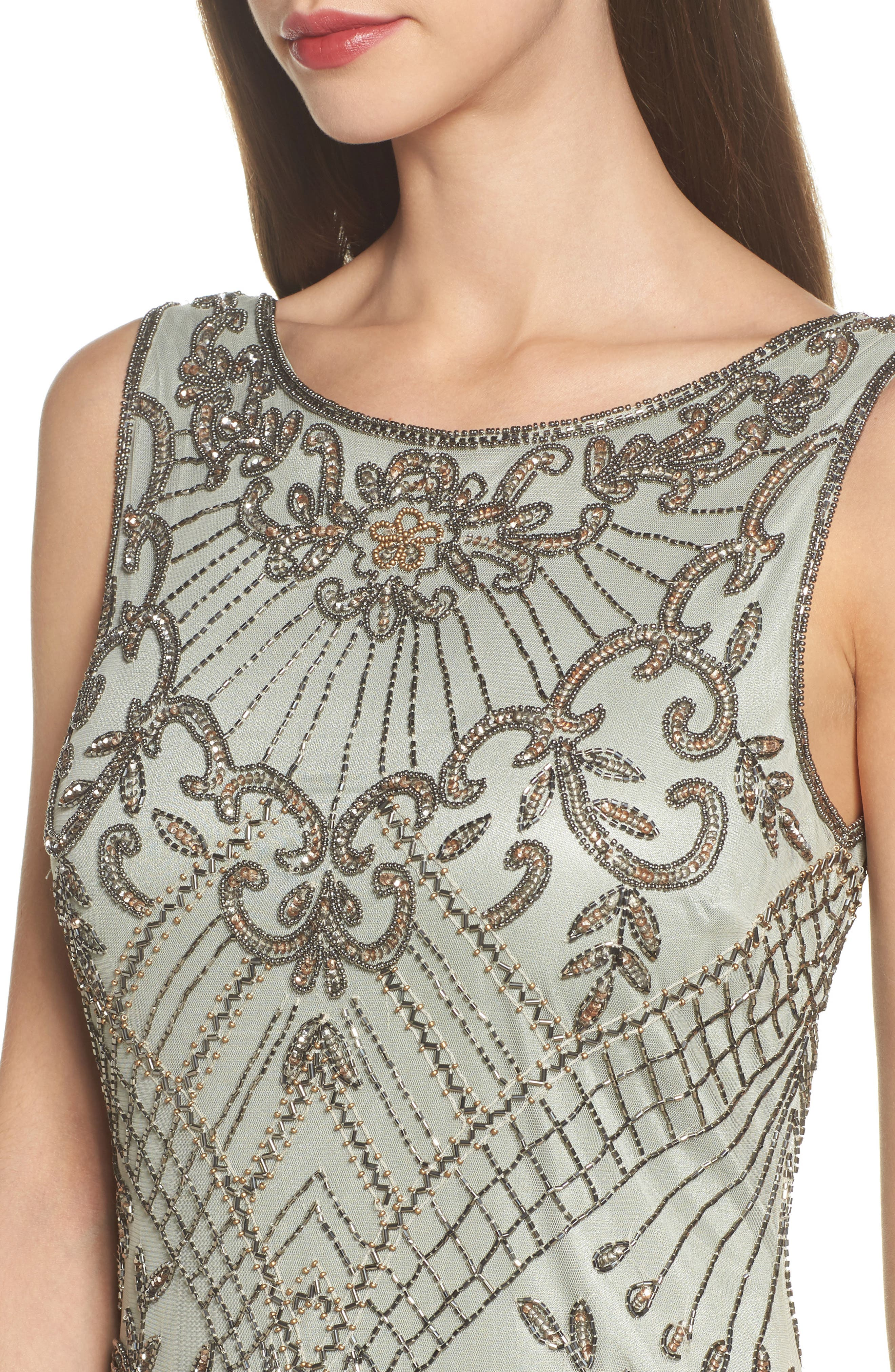 Embellished Mesh Gown,                             Alternate thumbnail 4, color,                             Sage