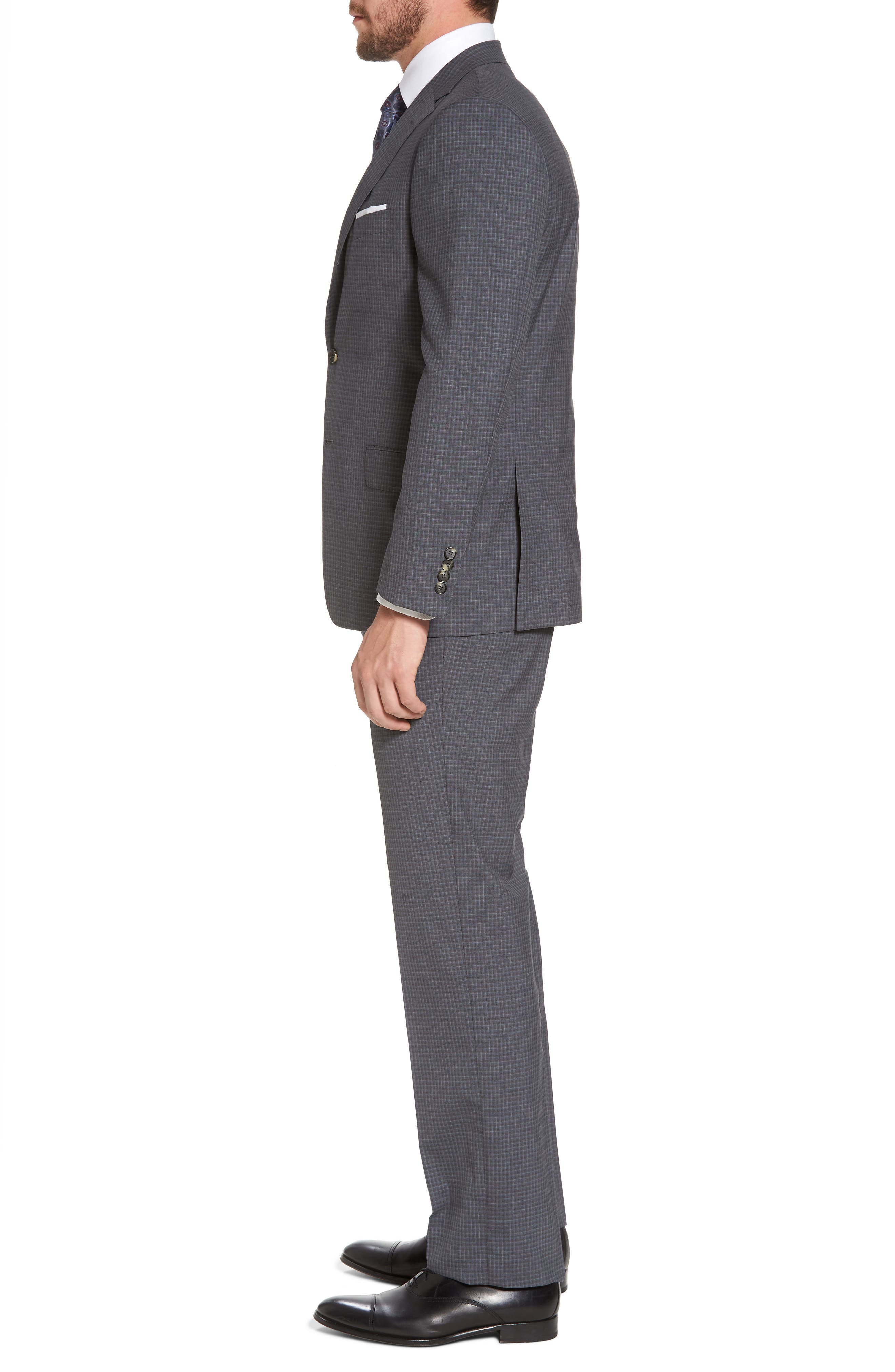 Classic B Fit Check Wool Suit,                             Alternate thumbnail 3, color,                             Charcoal