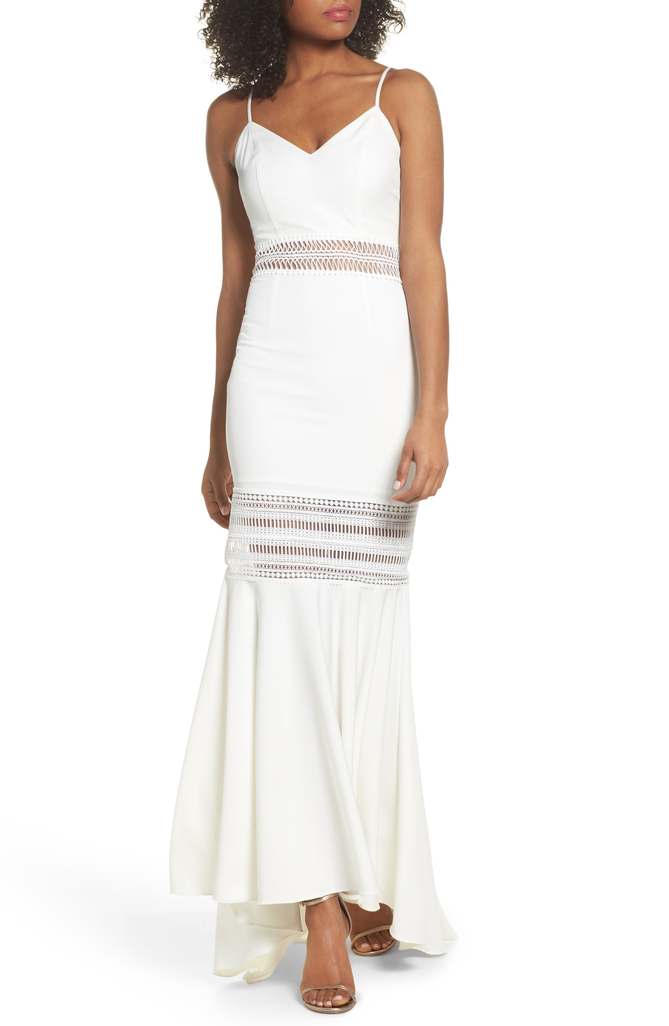 Clarity Openwork Inset Mermaid Gown,                             Main thumbnail 1, color,                             Ivory