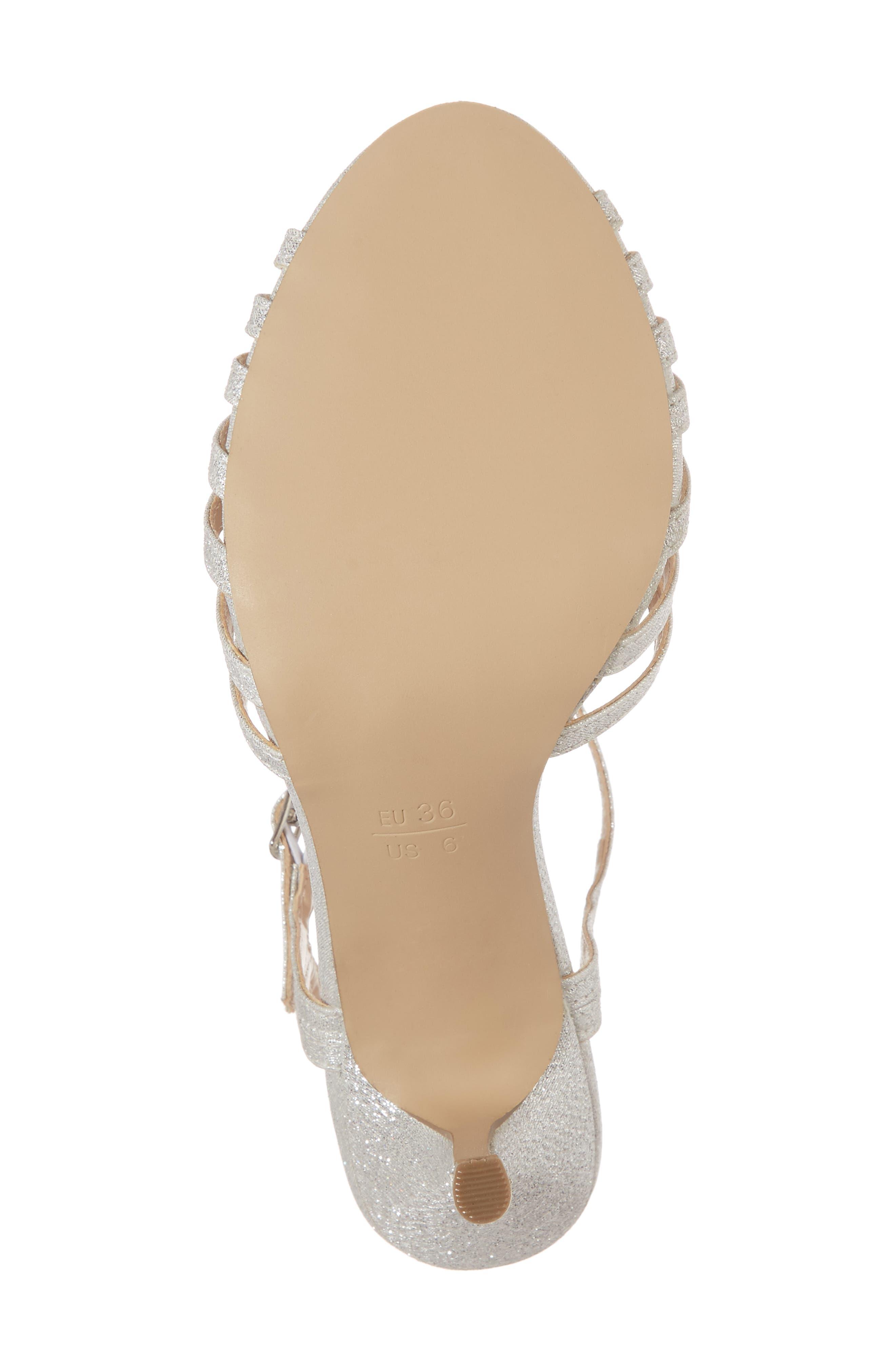 Maggie T-Strap Sandal,                             Alternate thumbnail 6, color,                             Silver Glitter