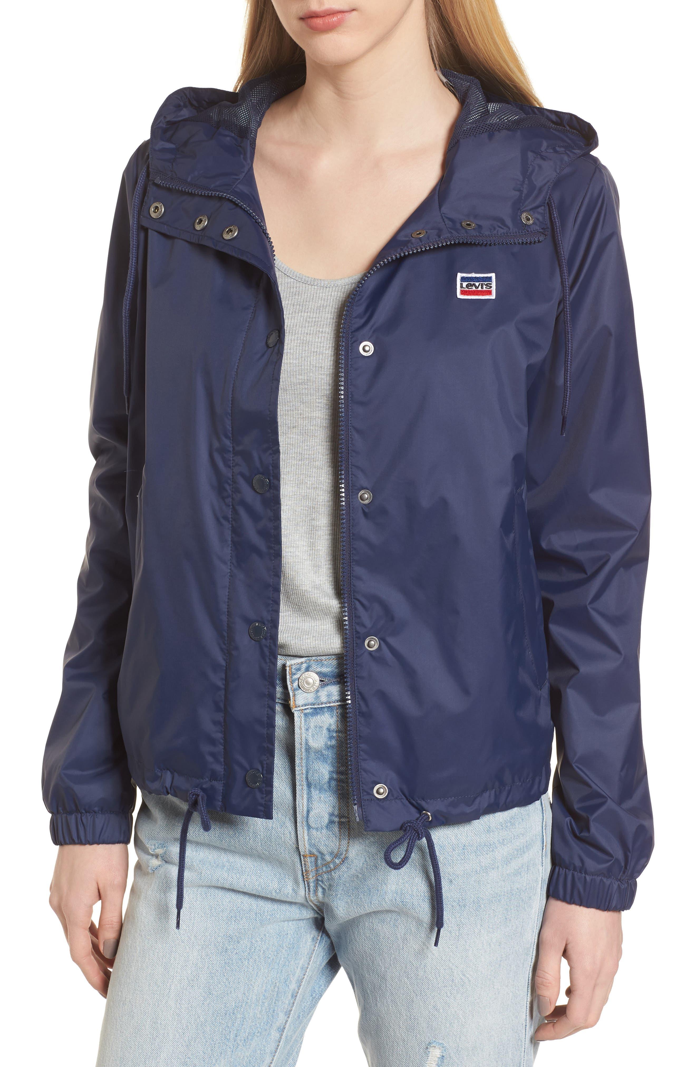 Retro Hooded Coach's Jacket,                         Main,                         color, Navy