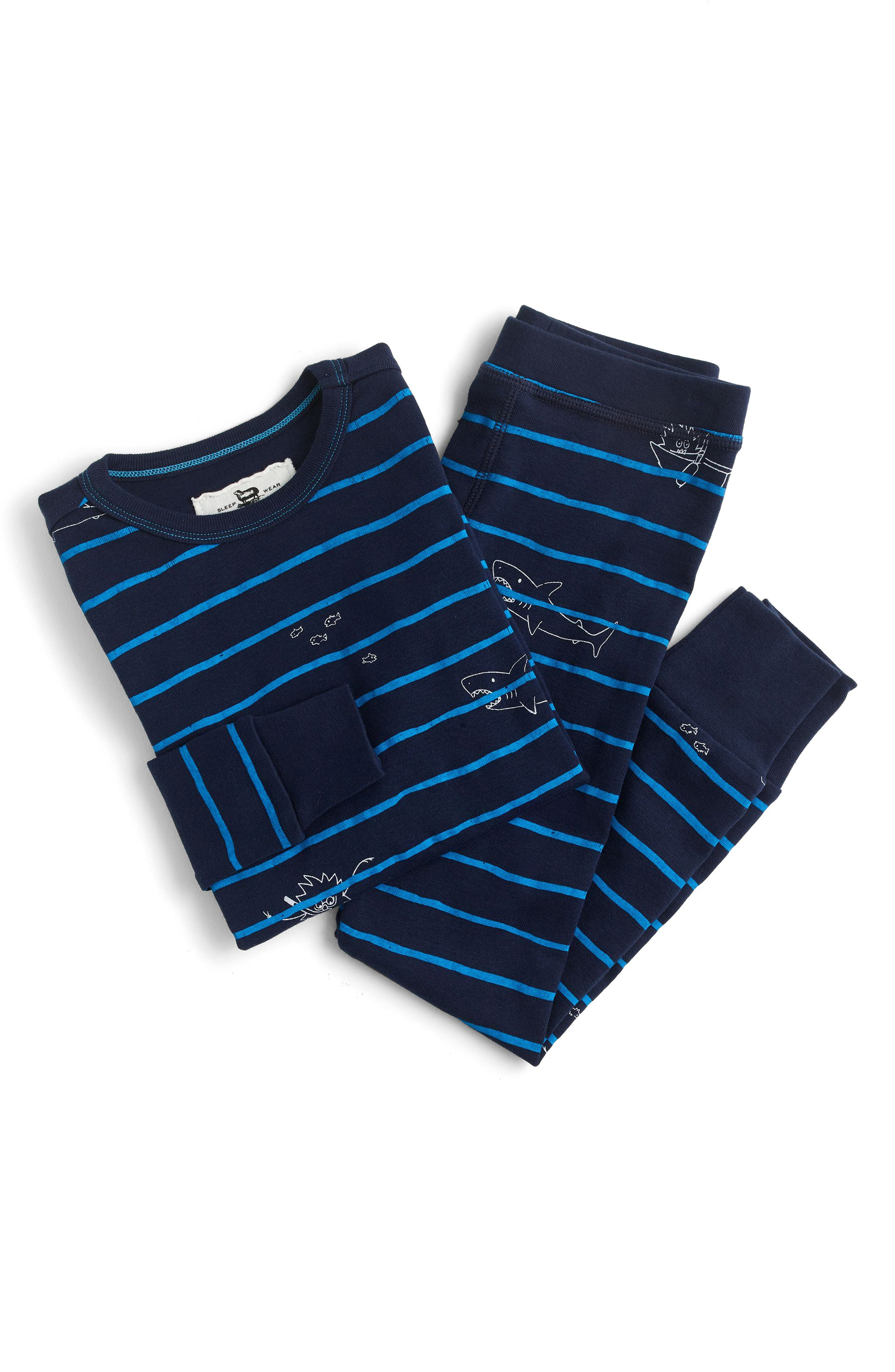 Scuba Stripe Fitted Two-Piece Pajamas,                             Main thumbnail 1, color,                             Navy