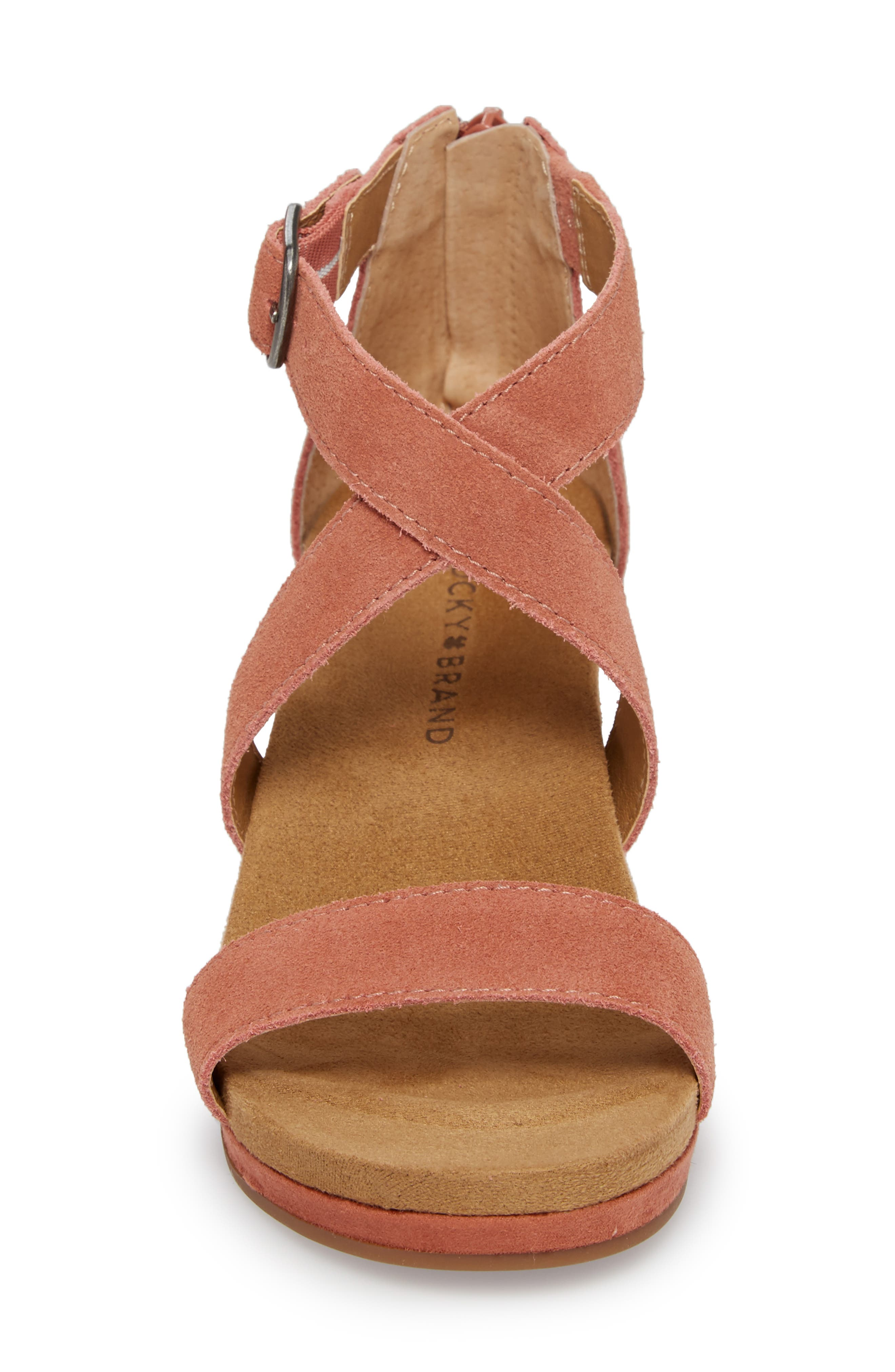 Kenadee Wedge Sandal,                             Alternate thumbnail 4, color,                             Canyon Rose Suede