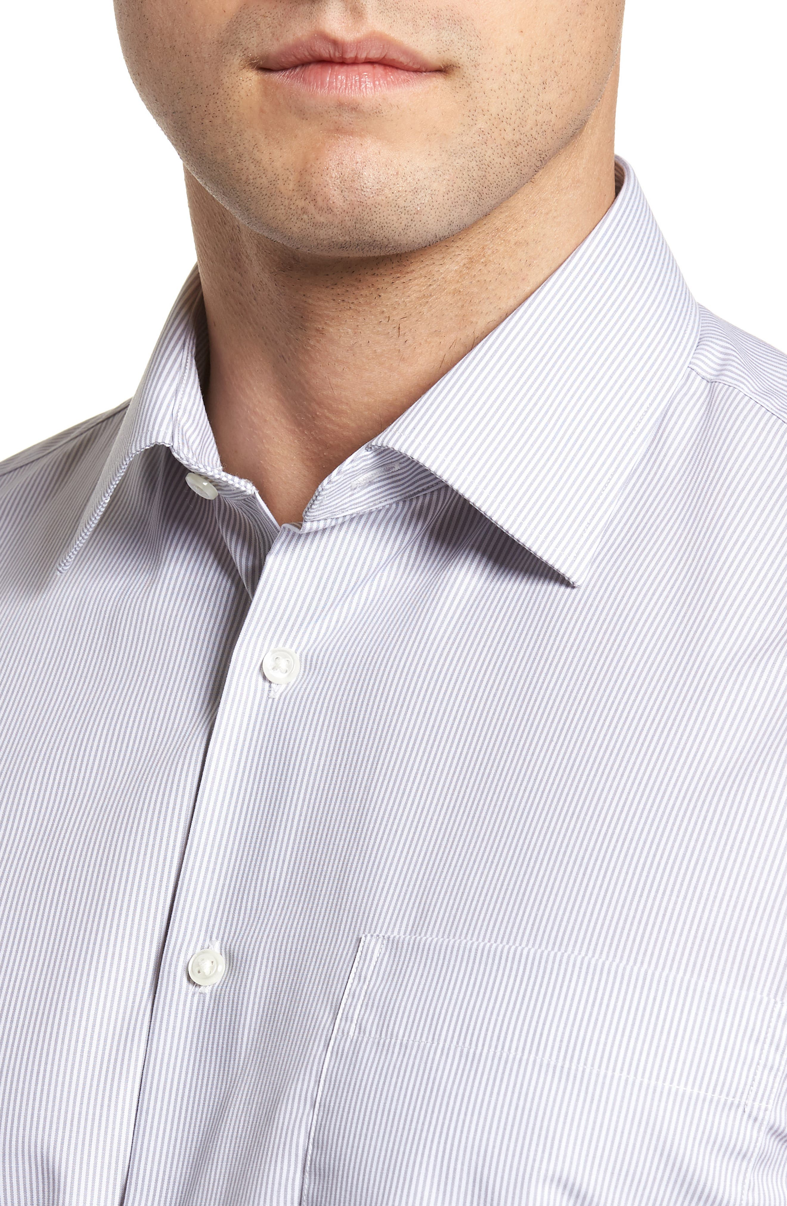 Classic Fit Non-Iron Stripe Dress Shirt,                             Alternate thumbnail 2, color,                             Grey Micro