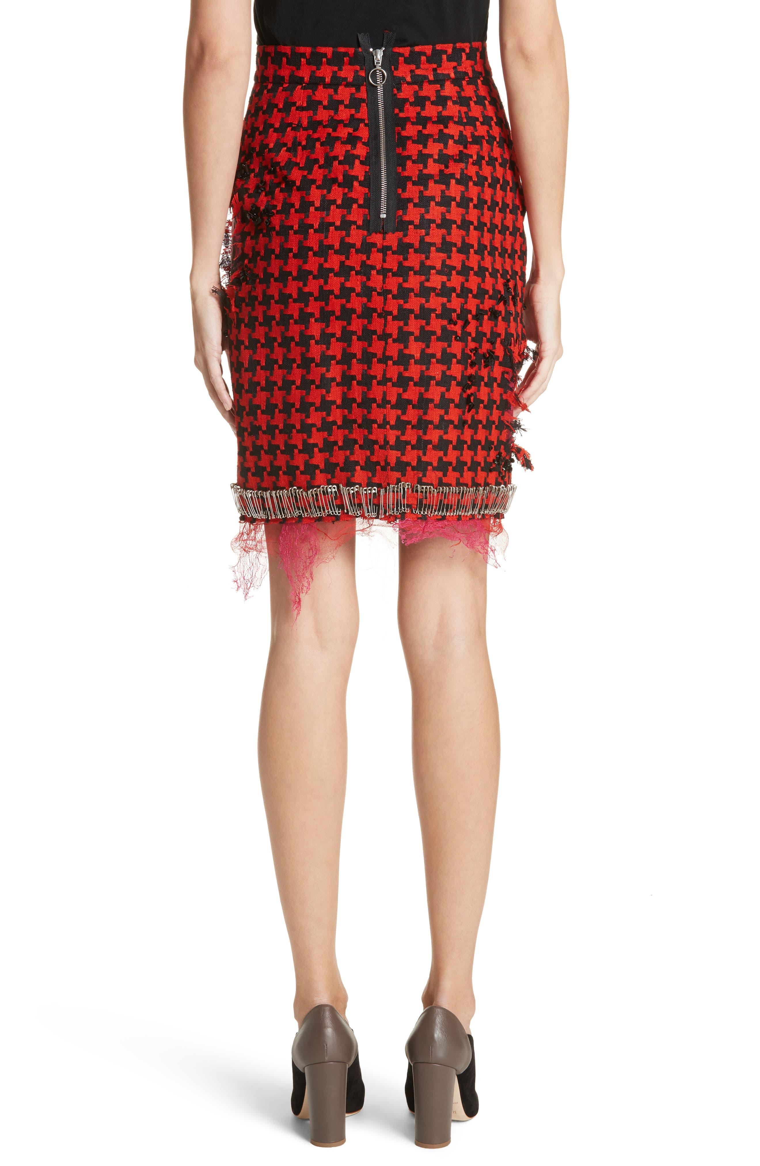 Prime Minister Houndstooth Wool Skirt,                             Alternate thumbnail 2, color,                             Red