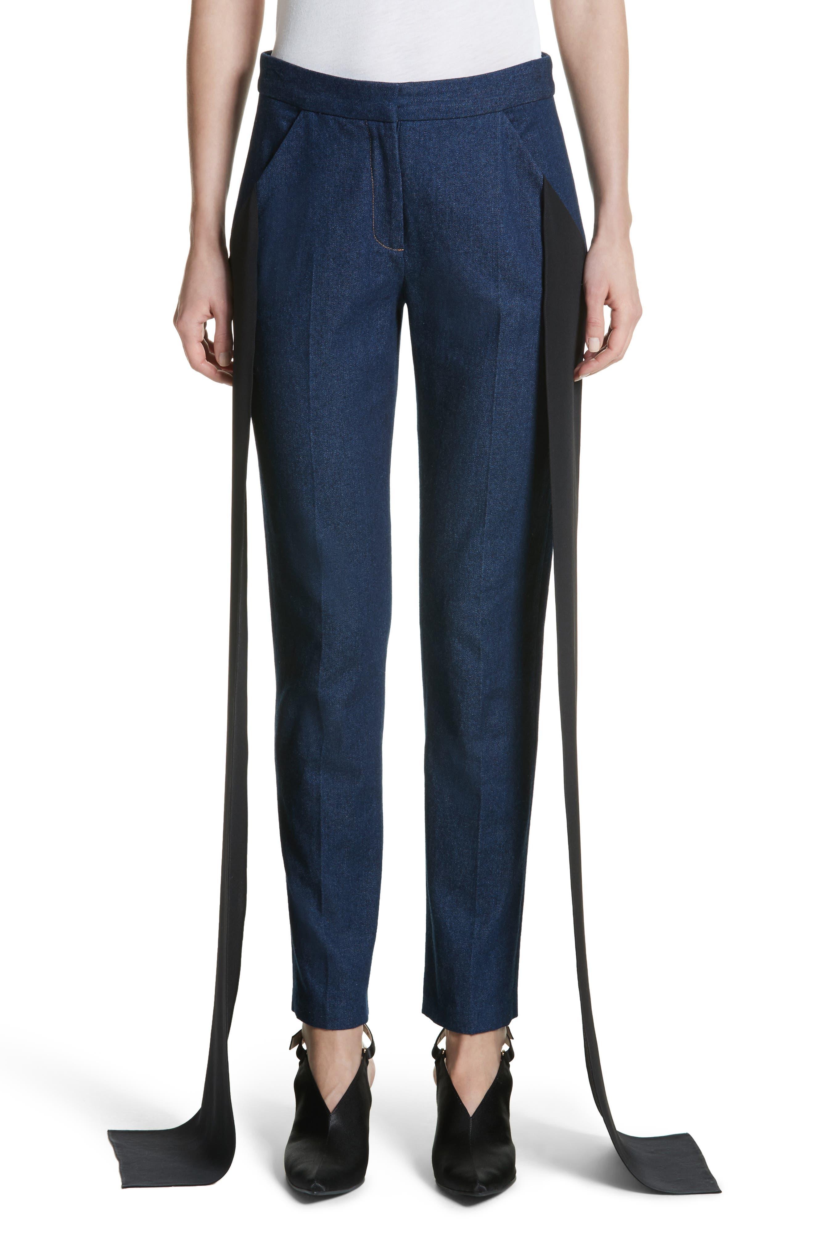 Mojave Side Panel Skinny Jeans,                             Main thumbnail 1, color,                             Dark Wash Denim