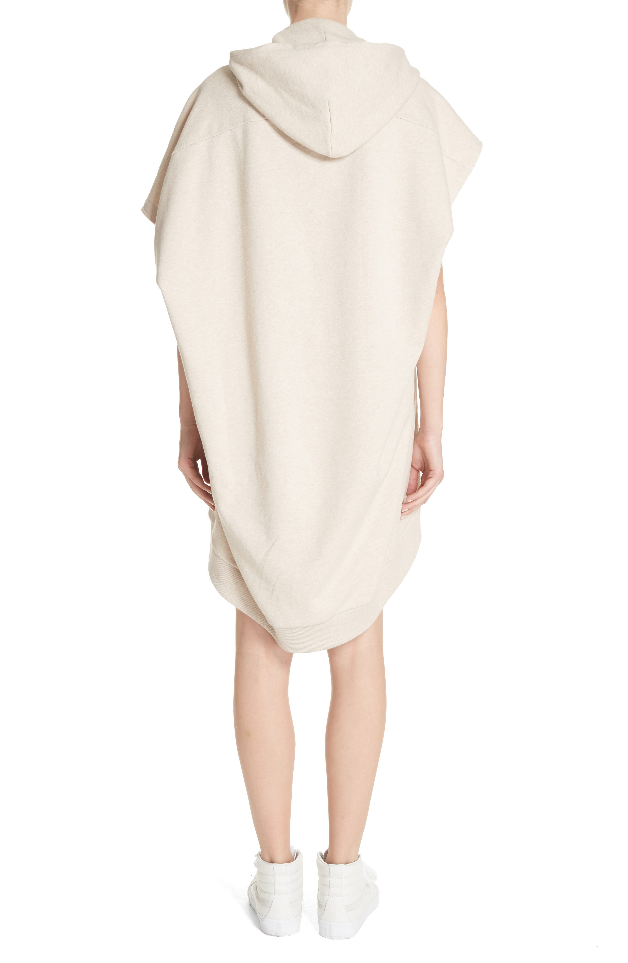 Marques'Almeida Asymmetrical Cap Sleeve Hoodie,                             Alternate thumbnail 2, color,                             Beige Melange