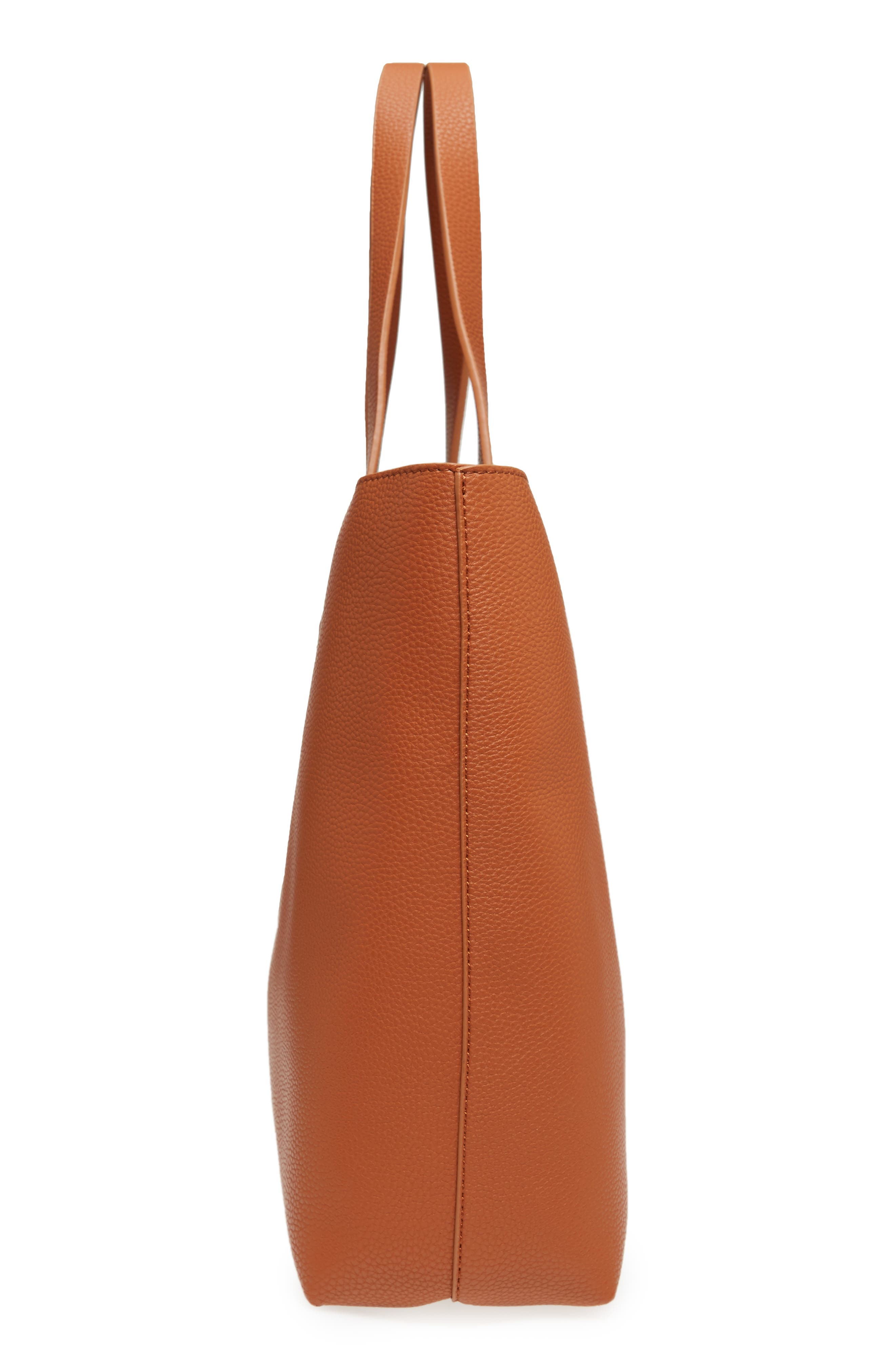Contrast Lining Faux Leather Tote,                             Alternate thumbnail 5, color,                             Cognac