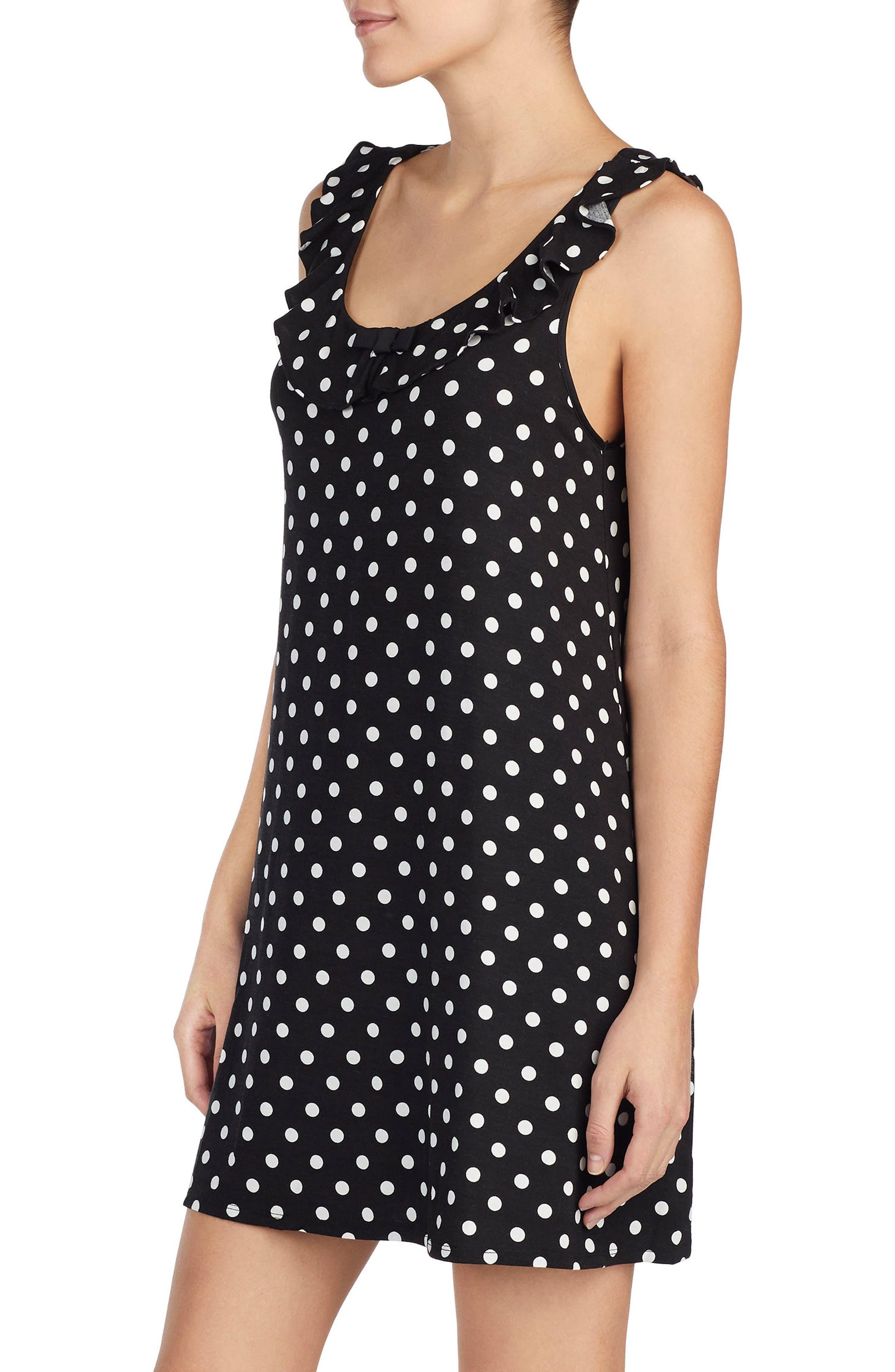 polka dot chemise,                             Alternate thumbnail 3, color,                             Black Framed Dot