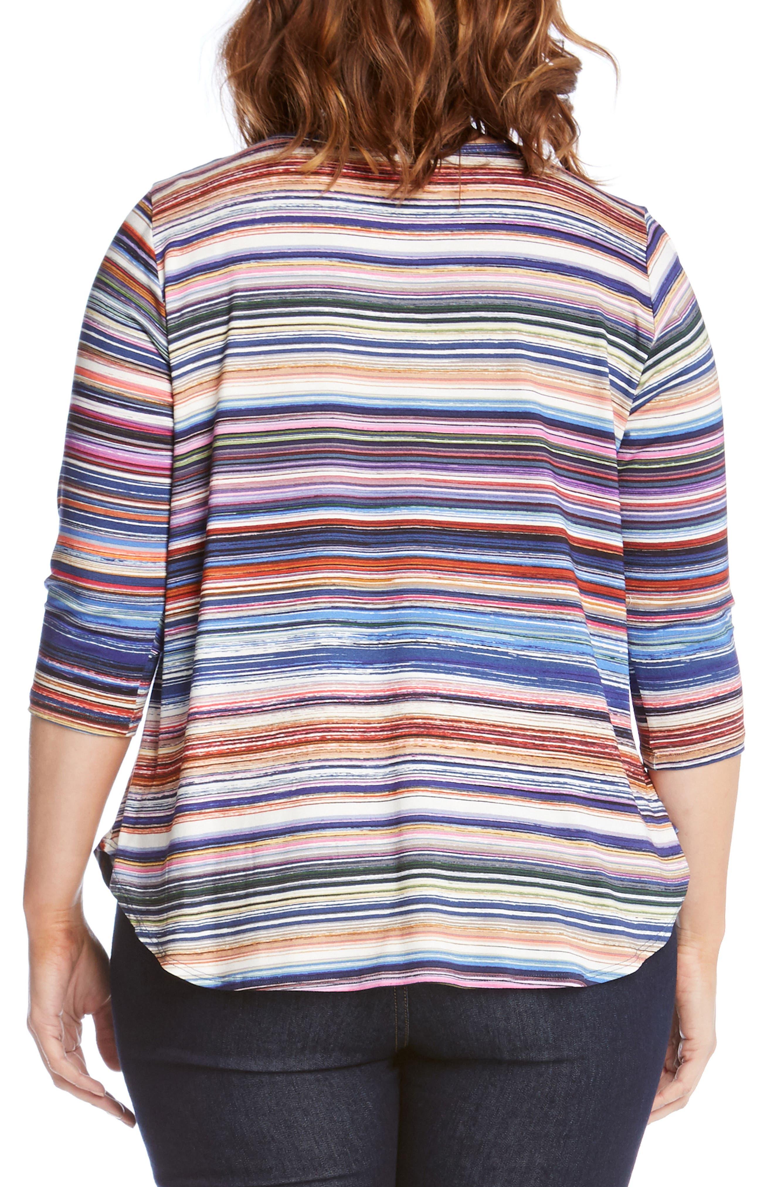 Alternate Image 2  - Karen Kane Newport Stripe Shirttail Top (Plus Size)