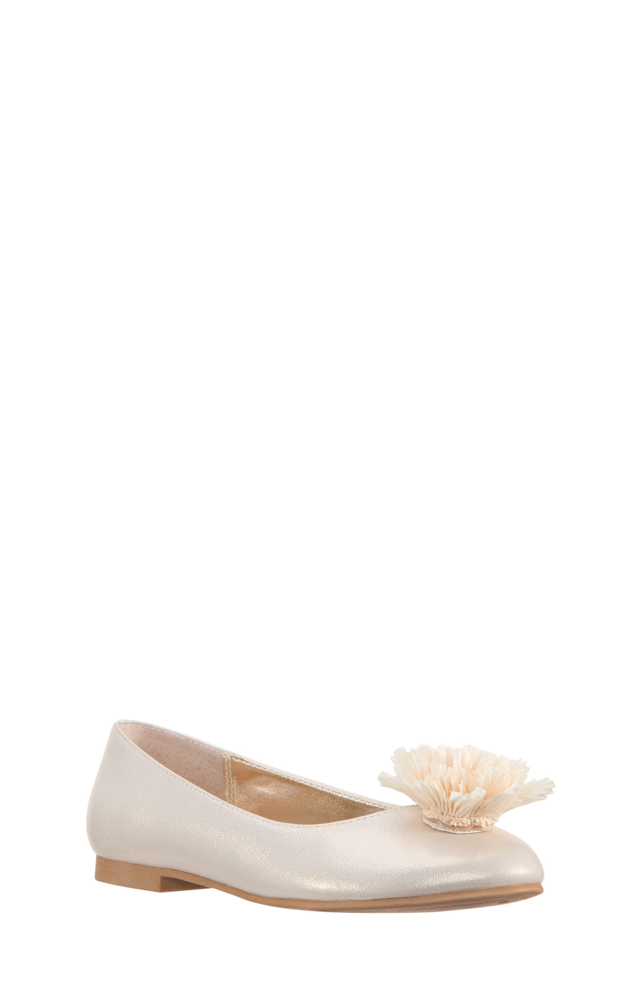 Jemma Flower Ballet Flat,                             Main thumbnail 1, color,                             Platino Metallic