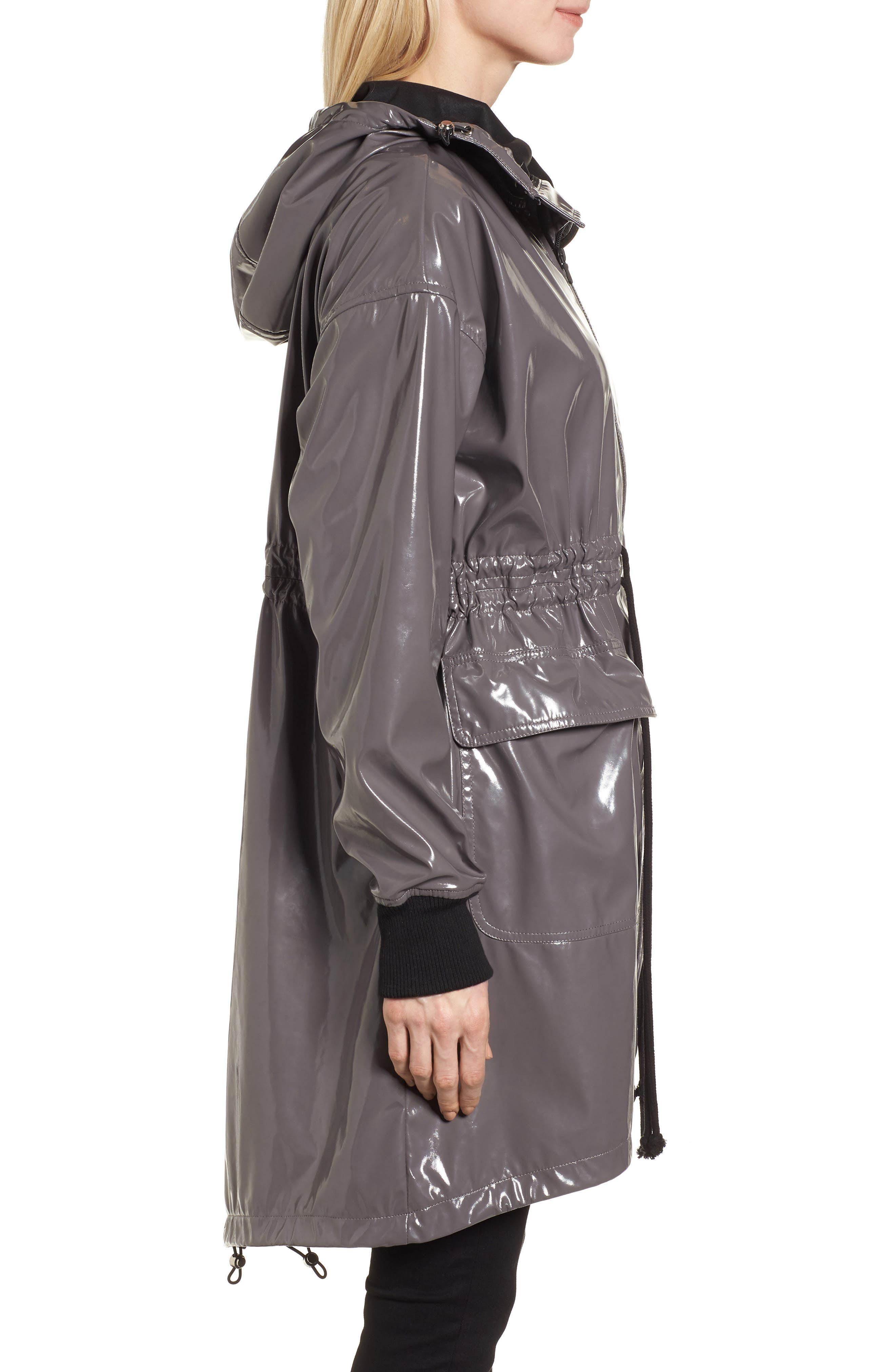 Fawn Patent Hooded Raincoat,                             Alternate thumbnail 3, color,                             Steel