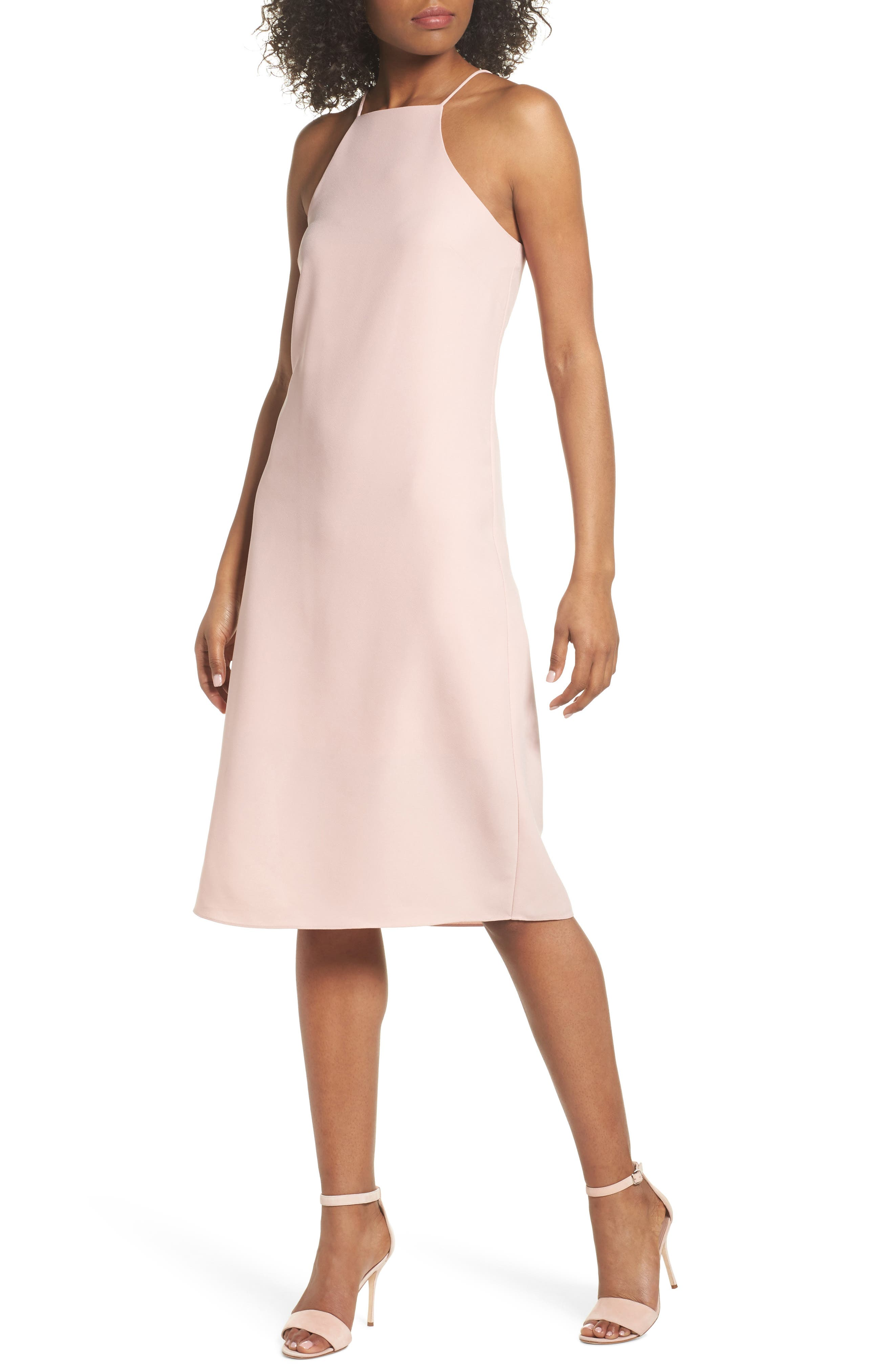 Sleeveless Midi Dress,                         Main,                         color, Blush