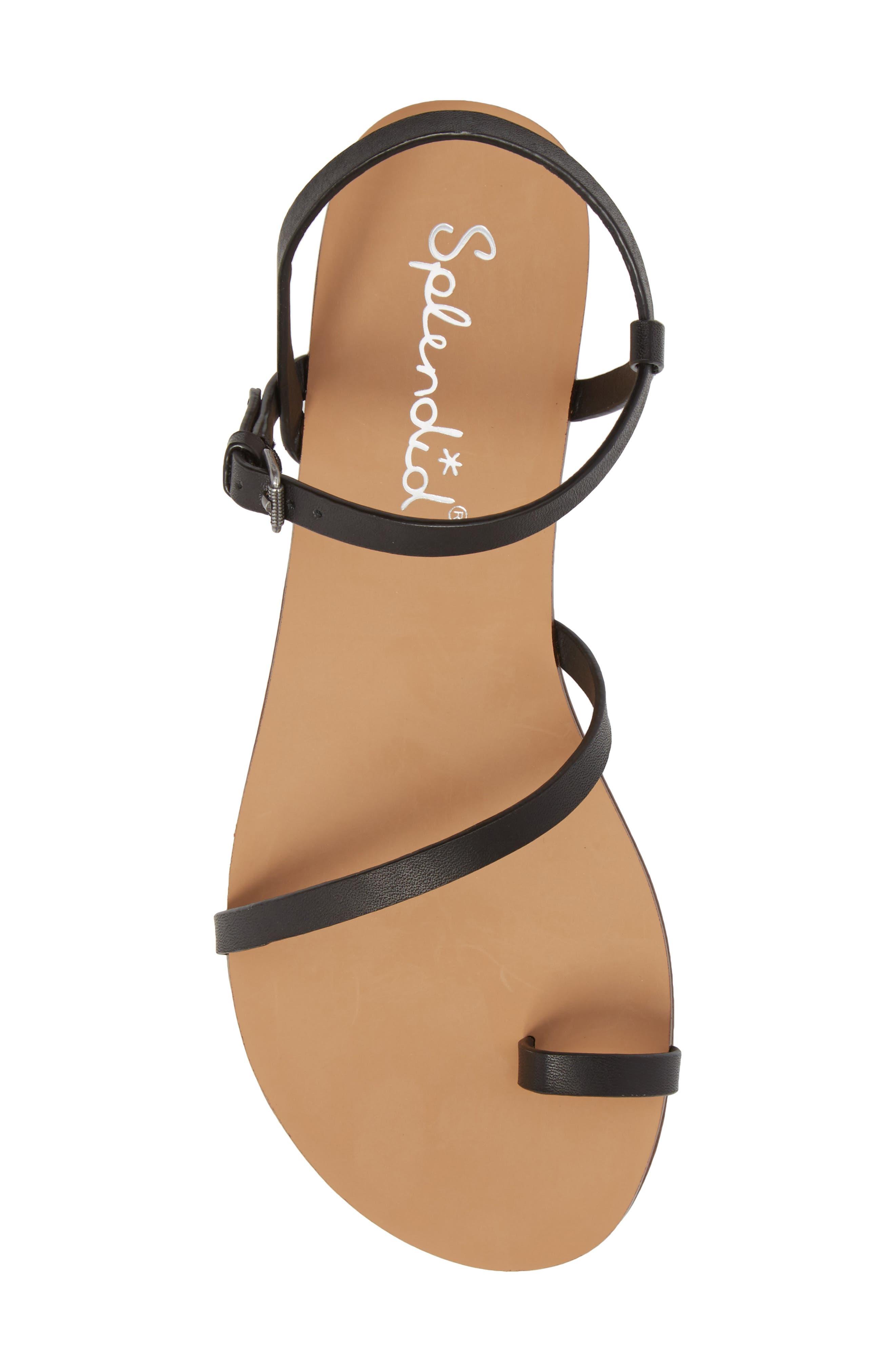 Flower Sandal,                             Alternate thumbnail 5, color,                             Black Leather