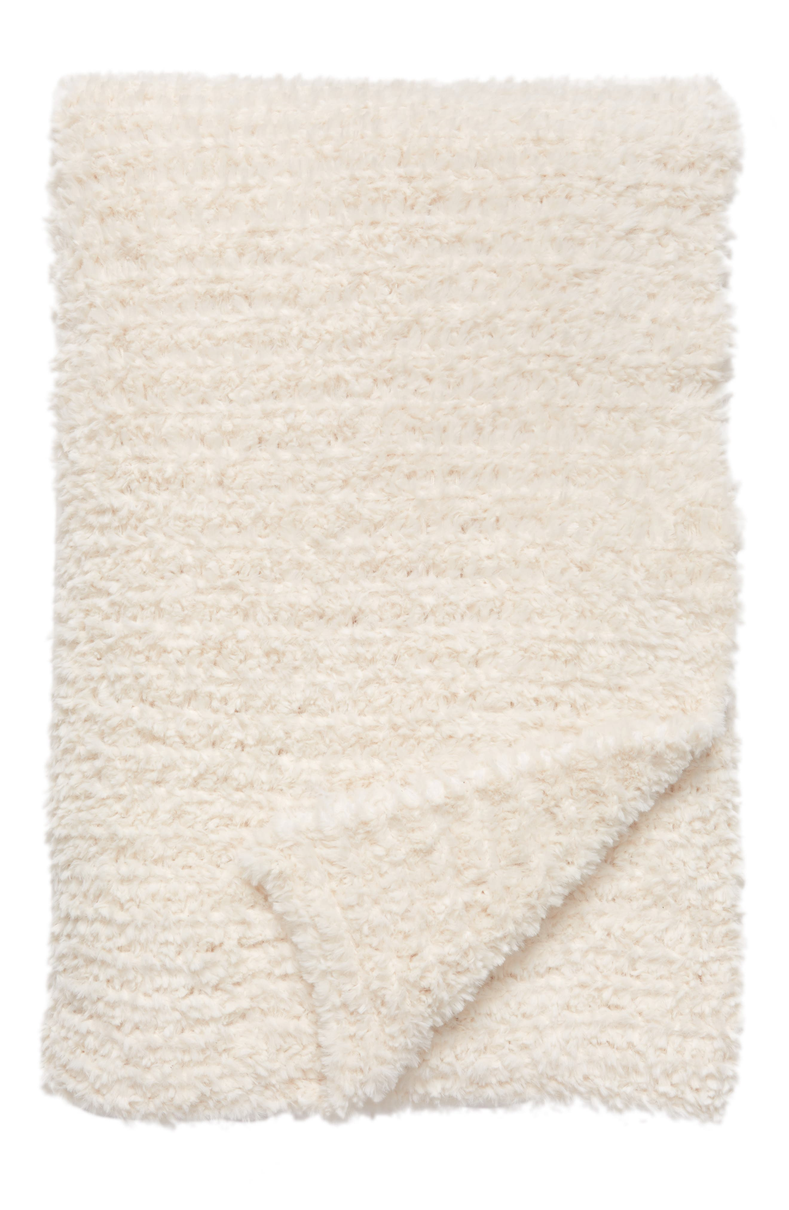 Lazy Days Faux Fur Throw Blanket,                             Main thumbnail 1, color,                             Ivory