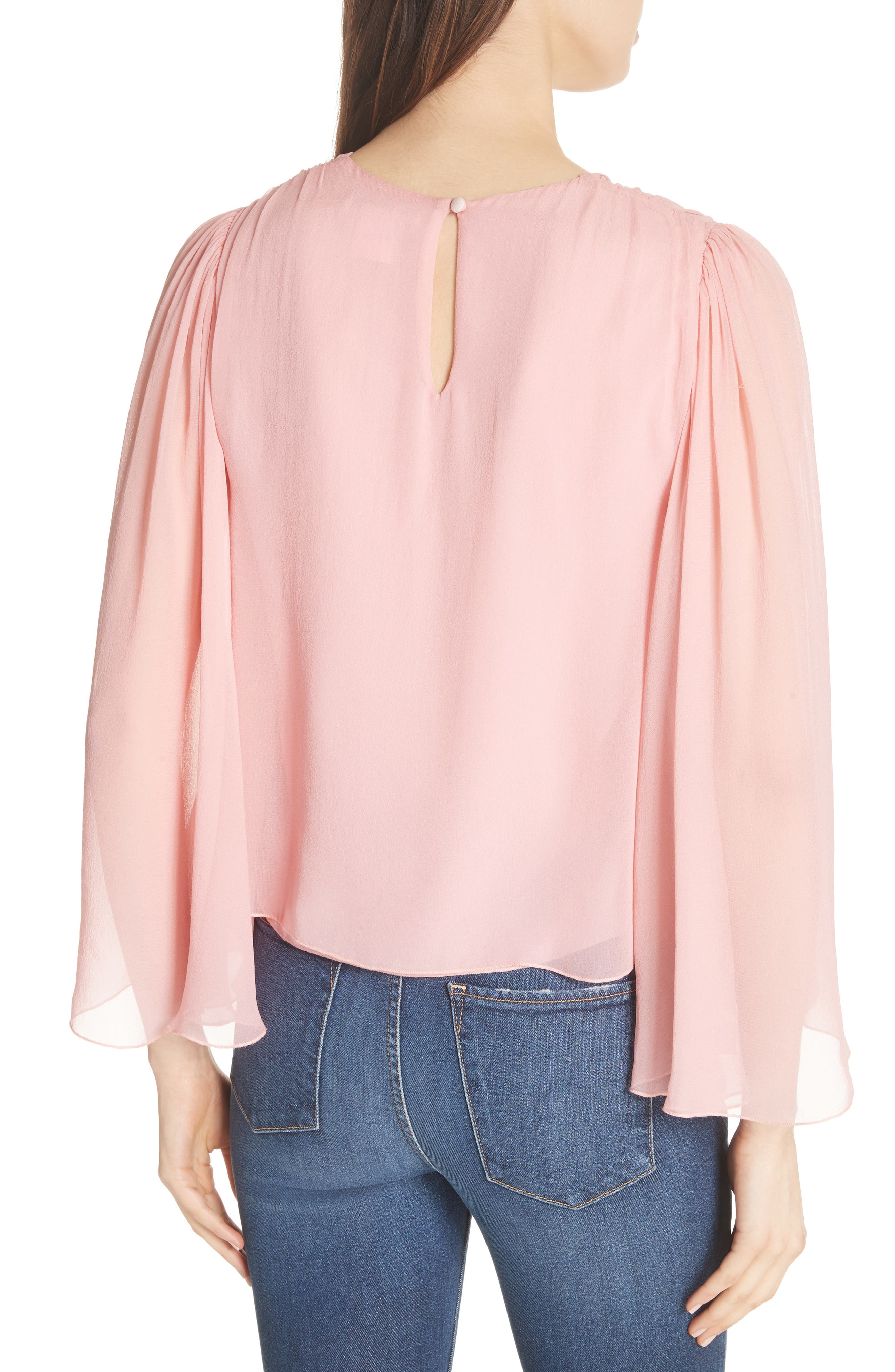 Jerrica Bell Sleeve Silk Blouse,                             Alternate thumbnail 2, color,                             Blossom