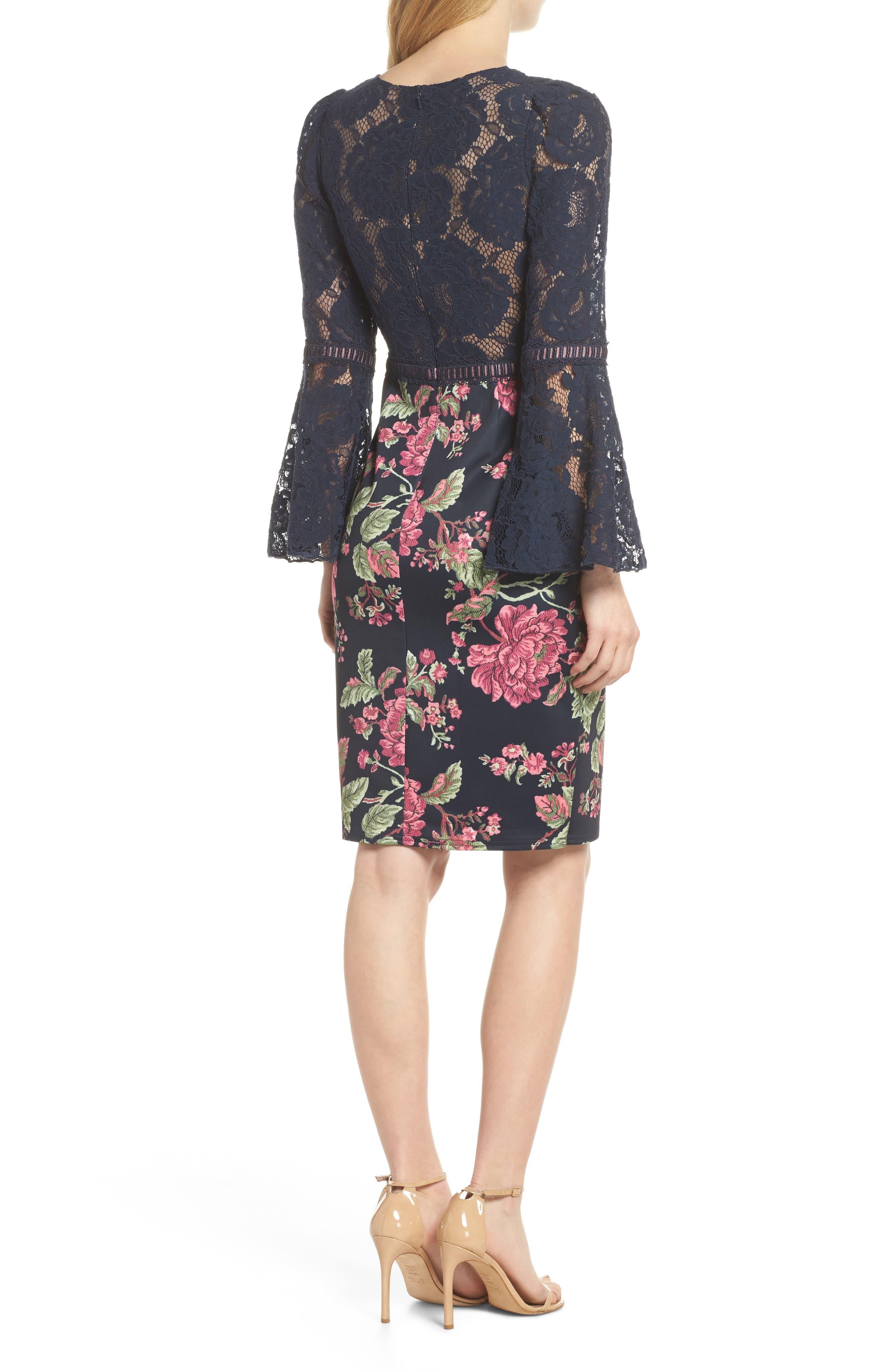 Lace & Neoprene Bell Sleeve Dress,                             Alternate thumbnail 2, color,                             Navy