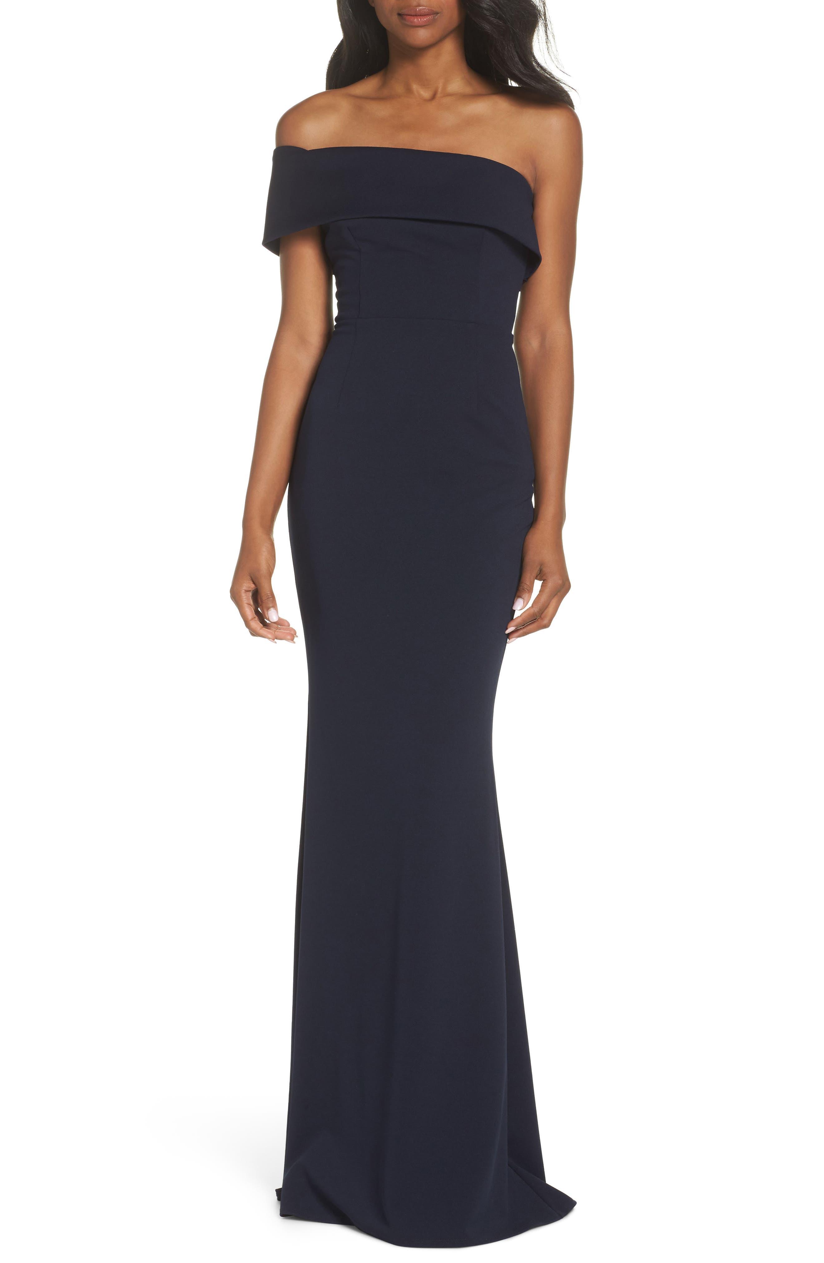 Titan One-Shoulder Cutout Crepe Gown,                         Main,                         color, Navy