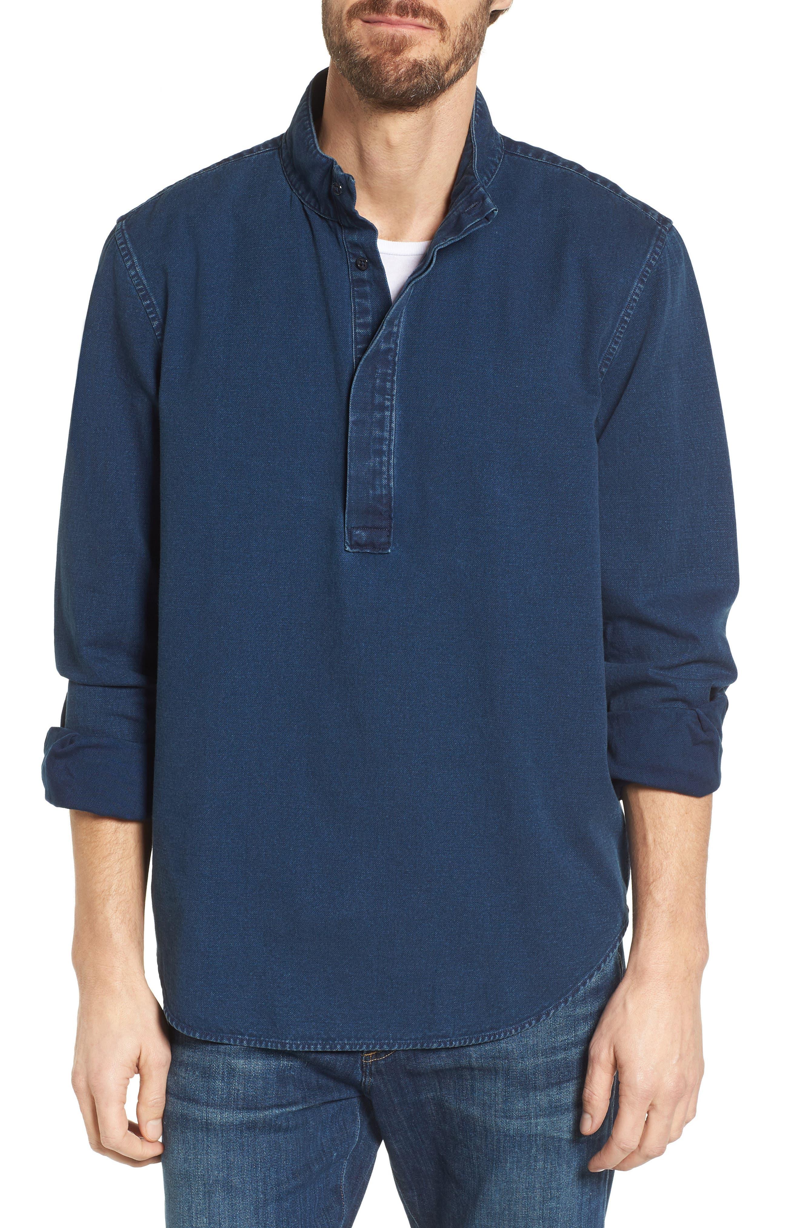 Band Collar Piqué Shirt,                         Main,                         color, Indigo