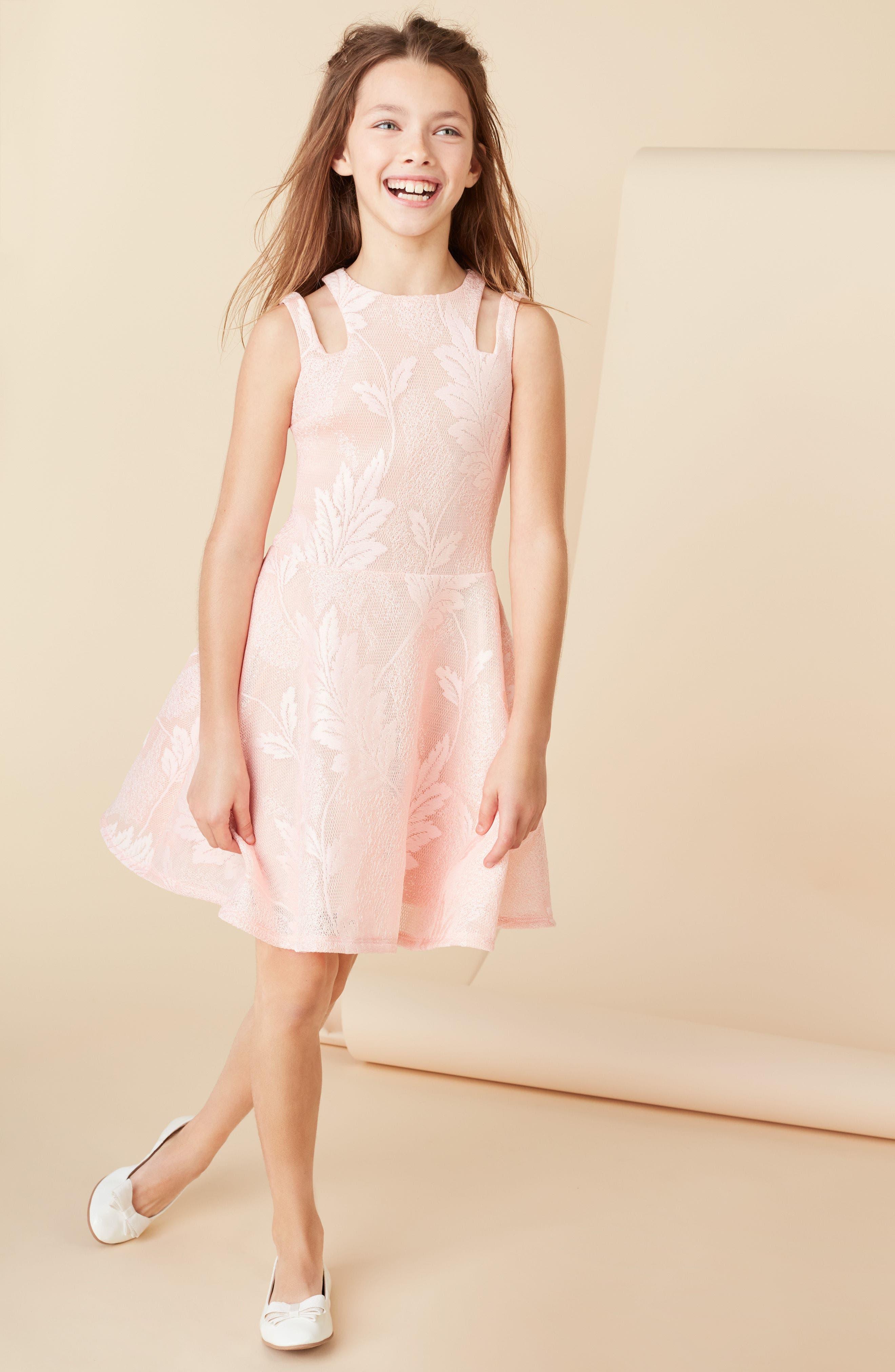 Split Strap Lace Fit & Flare Dress,                             Alternate thumbnail 5, color,