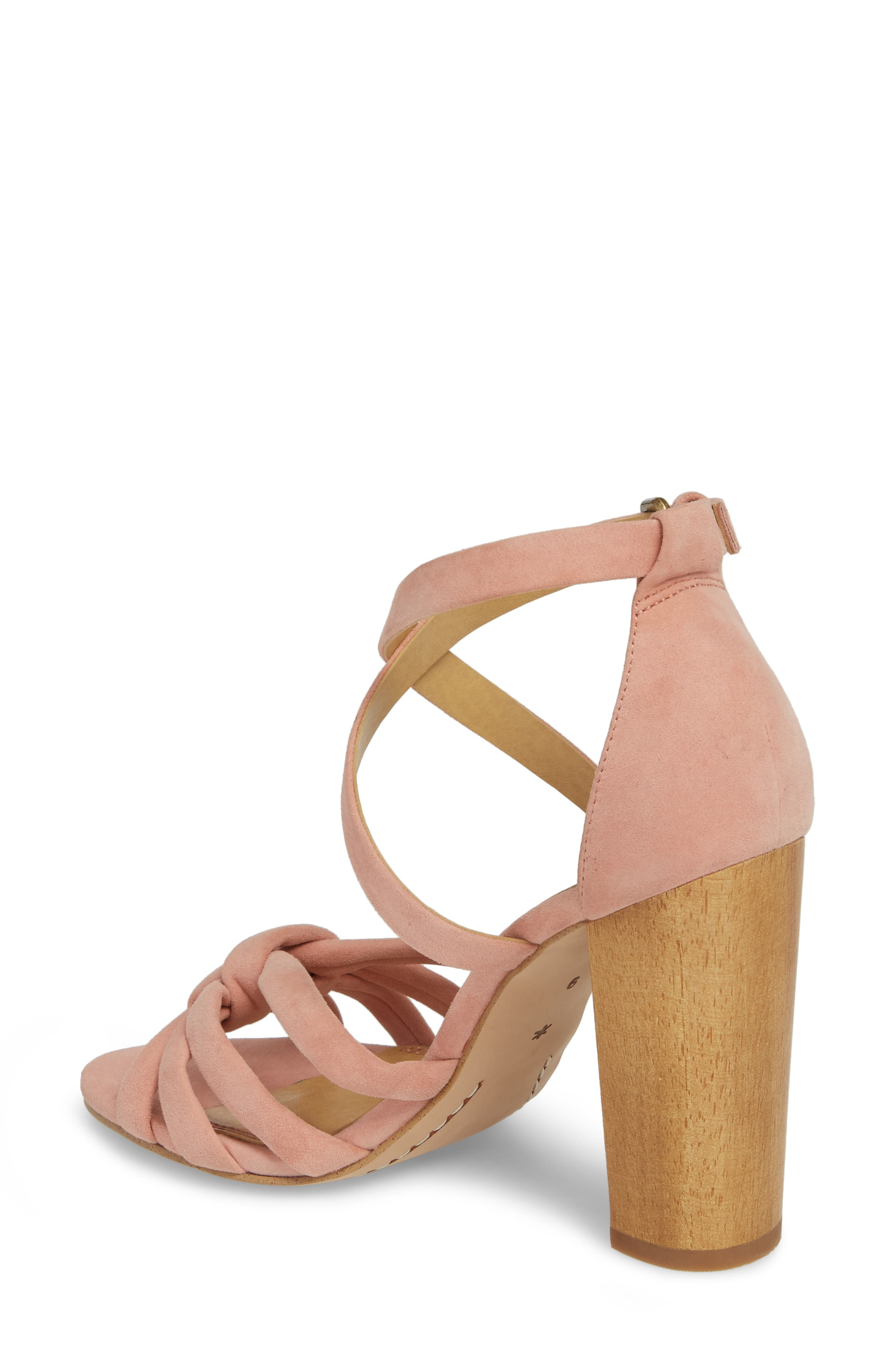 Faris Block Heel Sandal,                             Alternate thumbnail 2, color,                             Blush Suede