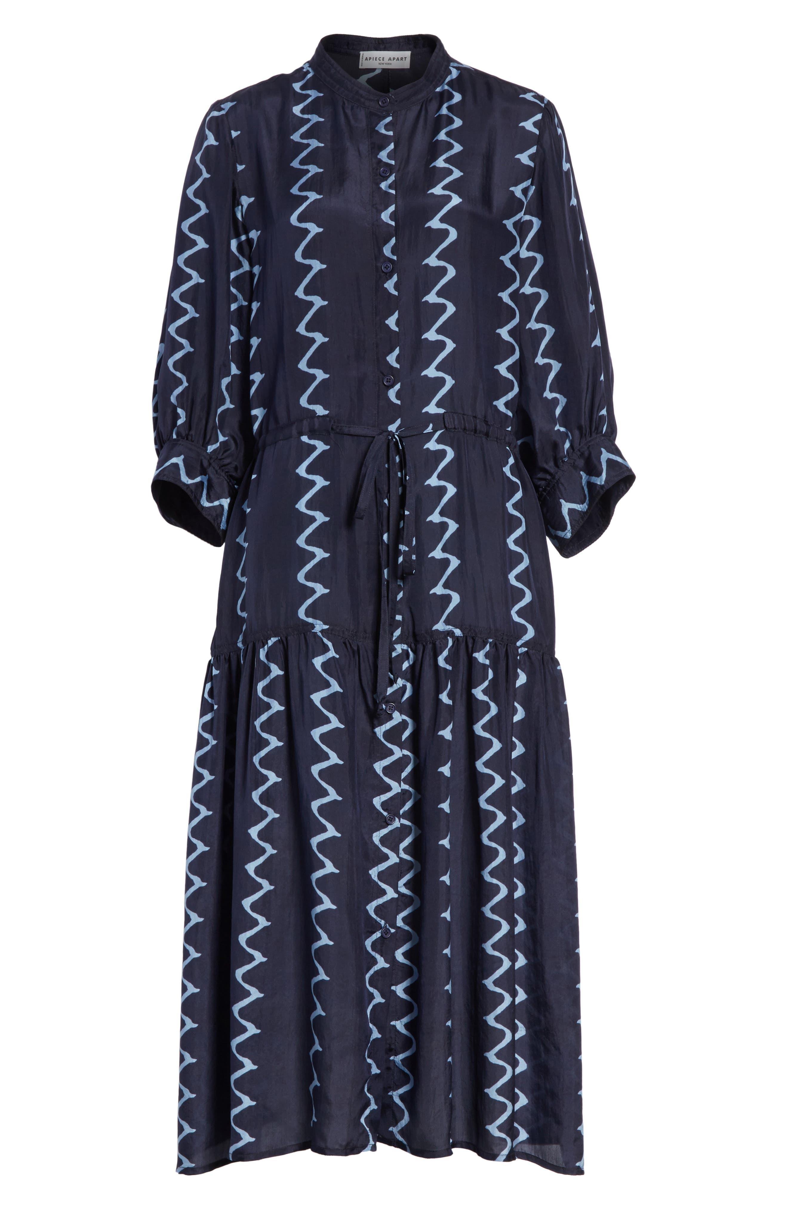 Dunegrass Silk Shirtdress,                             Alternate thumbnail 6, color,                             Navy Berber