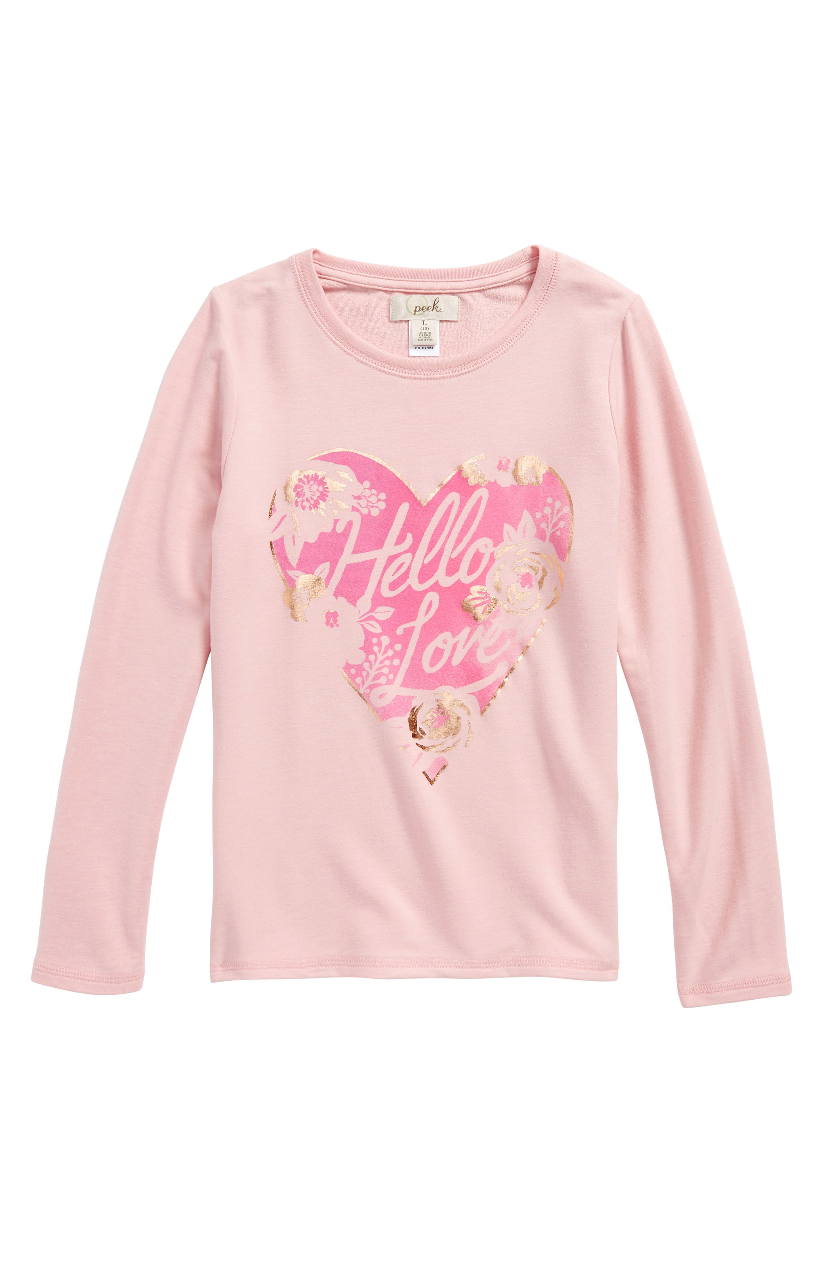 Hello Love Graphic Tee,                         Main,                         color, Pink