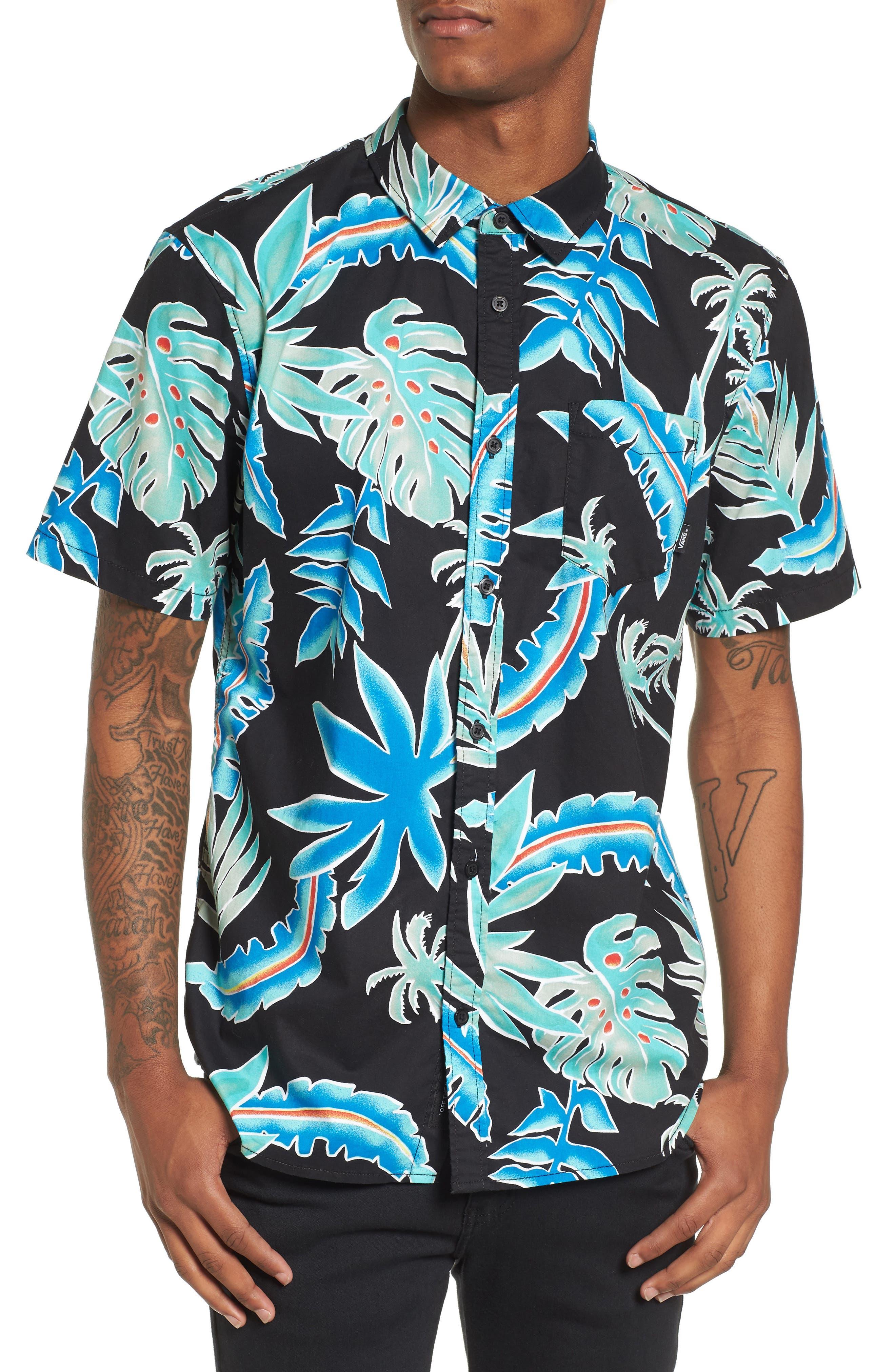 Pit Stop Woven Shirt,                             Main thumbnail 1, color,                             Black Pit Stop Floral
