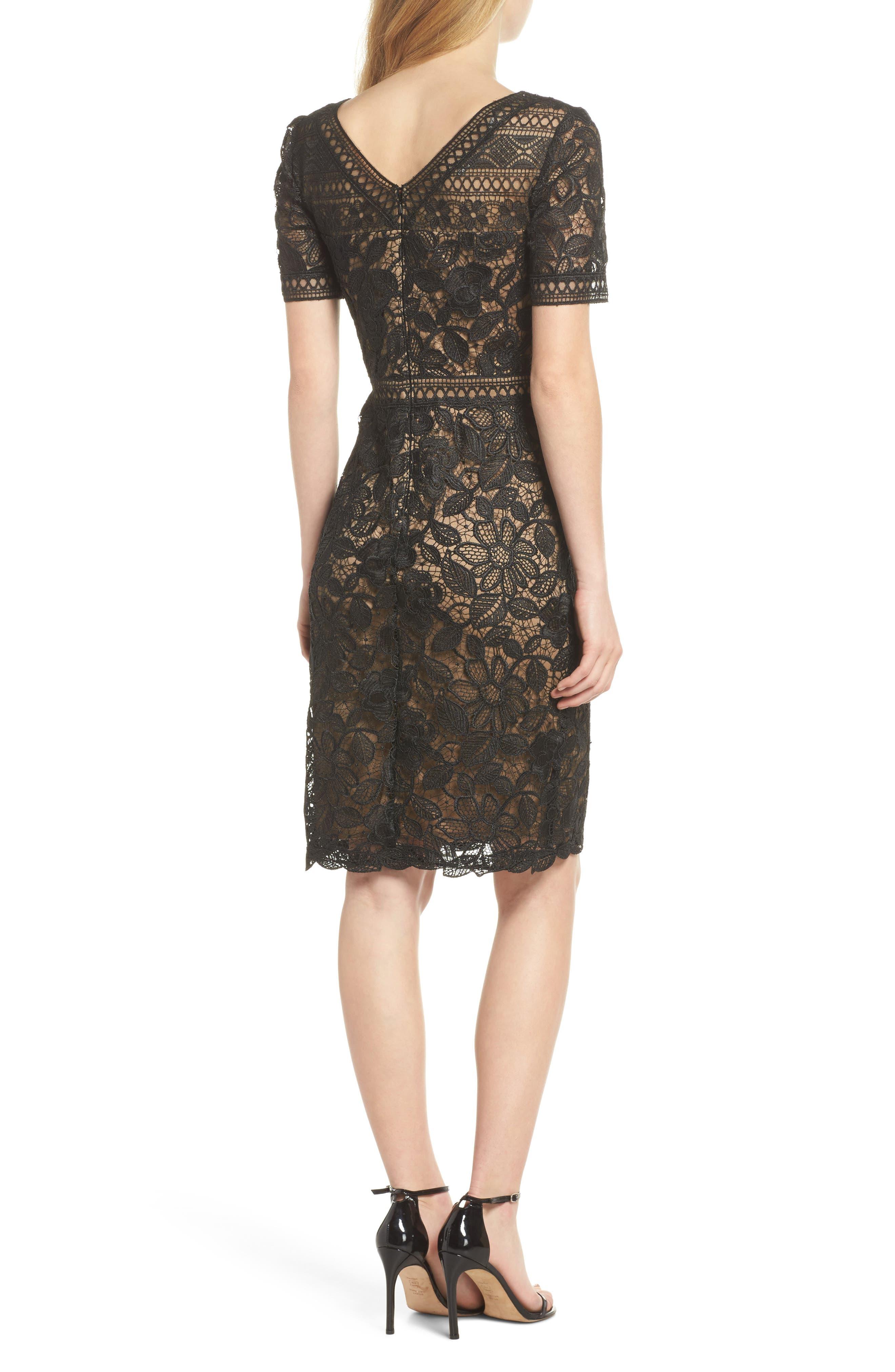 V-Neck Lace Sheath Dress,                             Alternate thumbnail 2, color,                             Black/ Nude