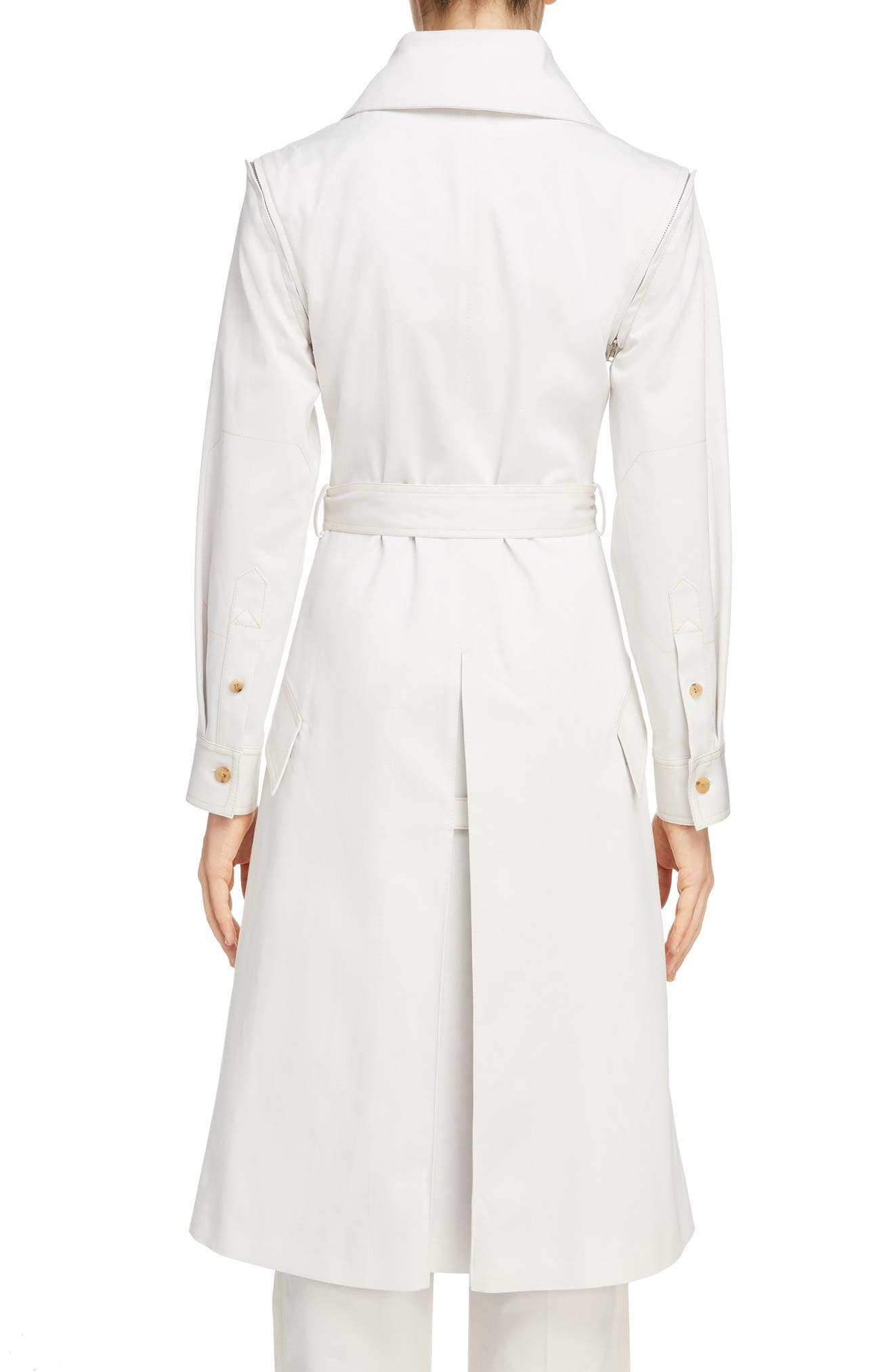 Olesia Removable Sleeve Belted Coat,                             Alternate thumbnail 2, color,                             Dirty White