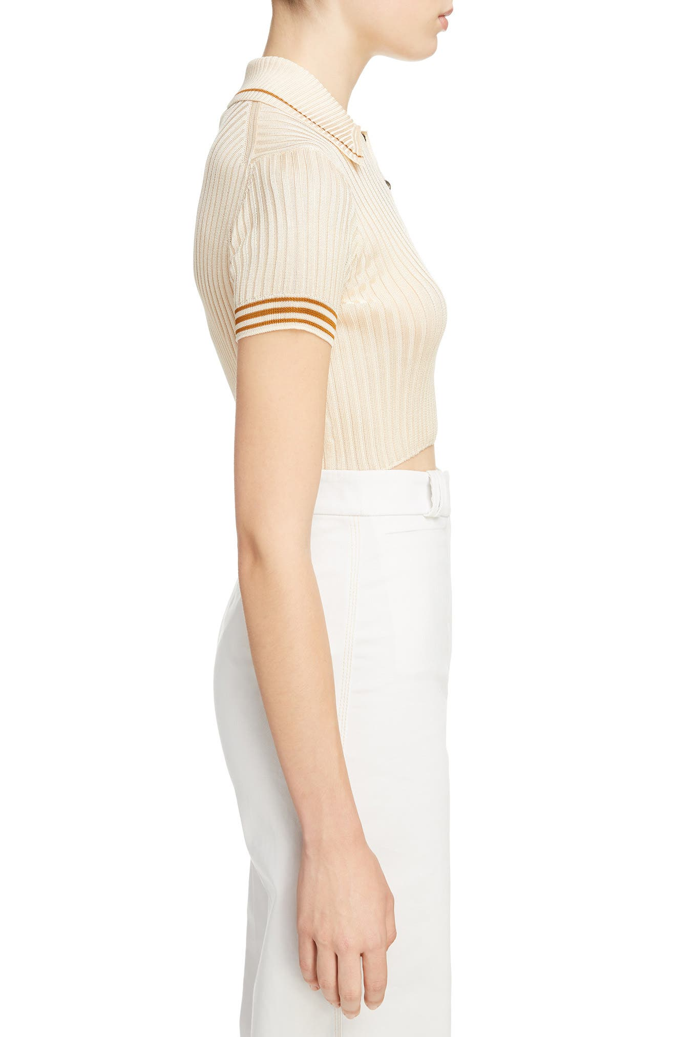 Shanita Lingerie Crop Polo Sweater,                             Alternate thumbnail 3, color,                             Ivory White/ Tobacco Stripe