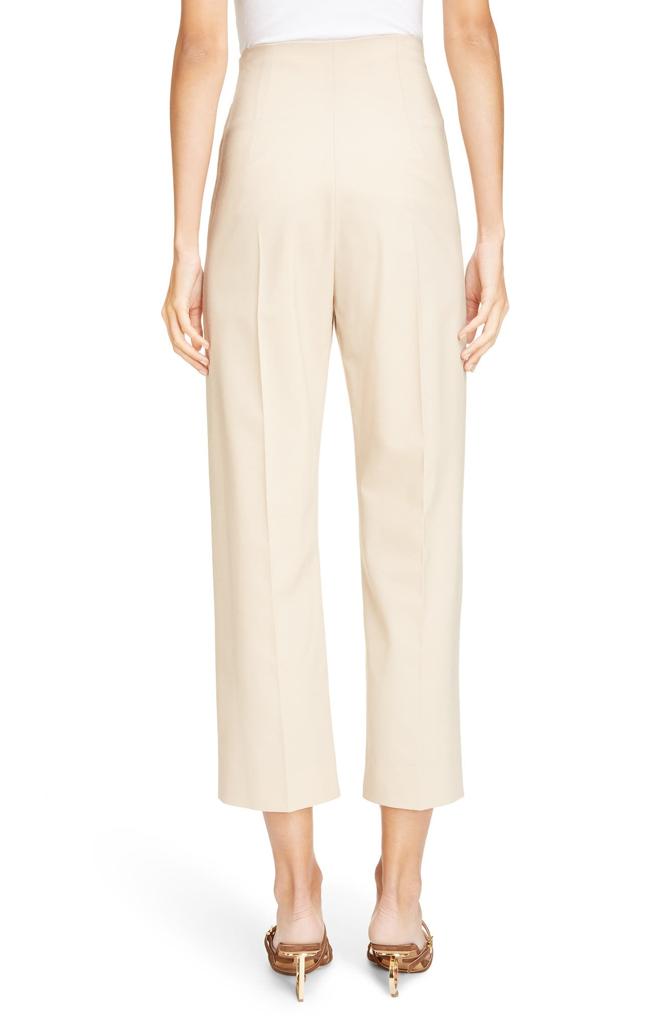 Le Pantalon Droit High Waist Crop Pants,                             Alternate thumbnail 2, color,                             Beige