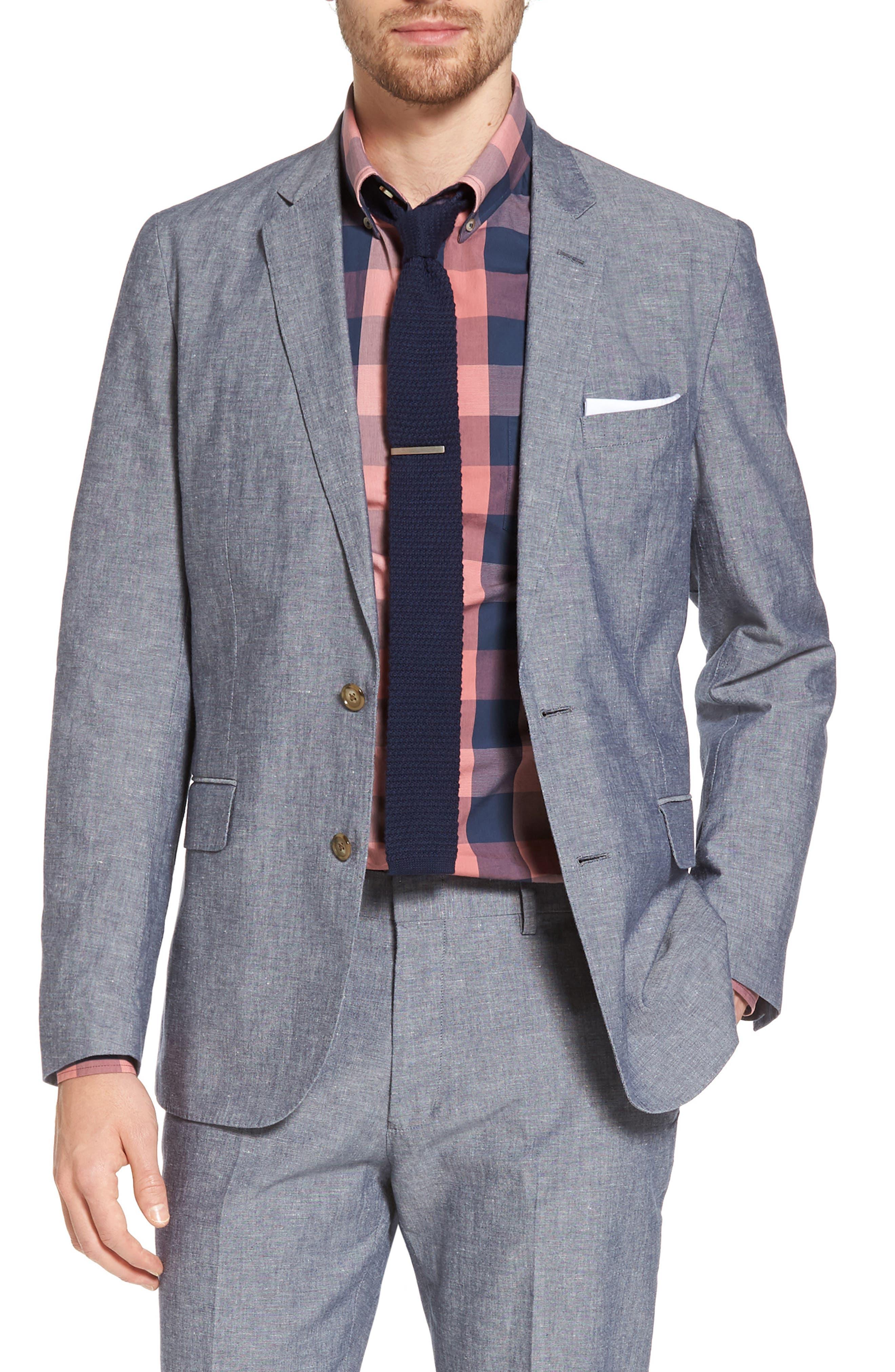 Ludlow Cotton & Linen Blazer,                             Main thumbnail 1, color,                             Deep Water Blue