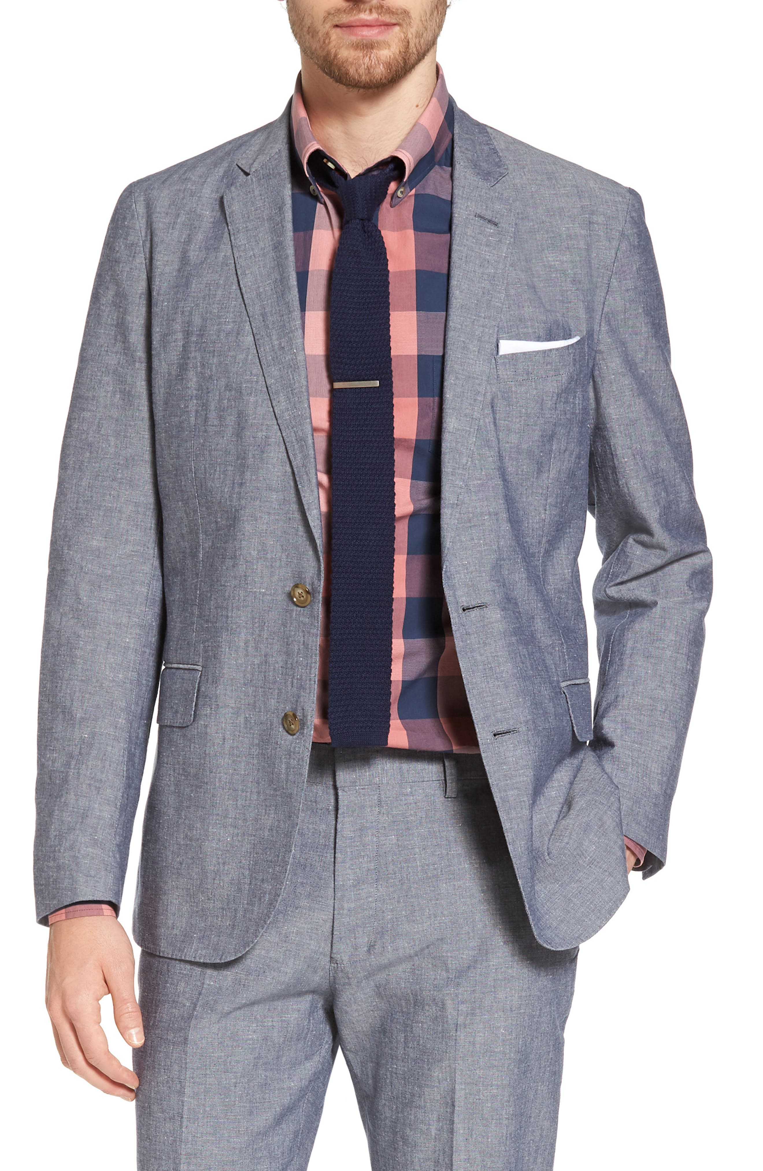 Ludlow Cotton & Linen Blazer,                         Main,                         color, Deep Water Blue