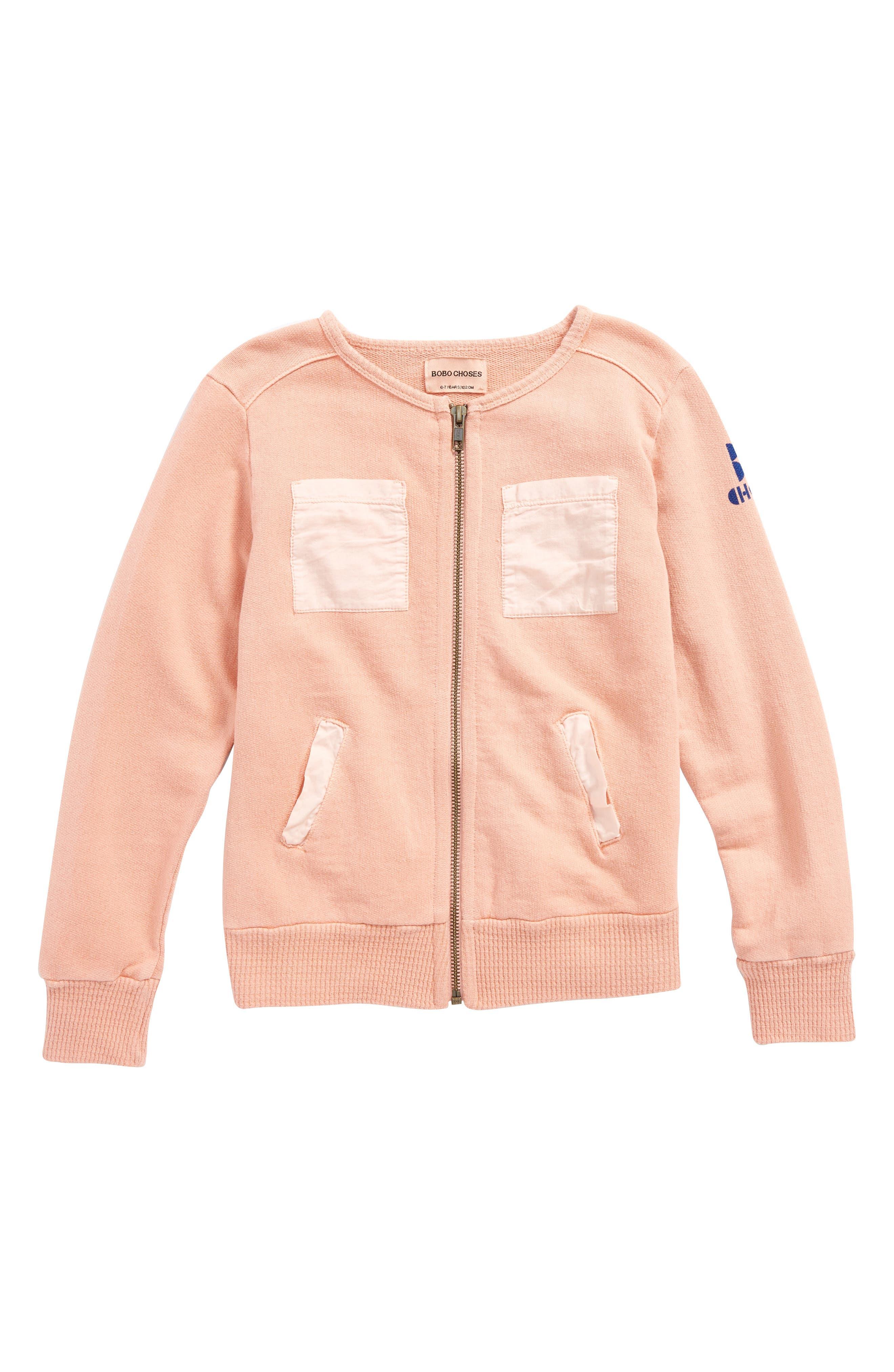 Organic Cotton Zip Jacket,                             Main thumbnail 1, color,                             Lobster Bisque