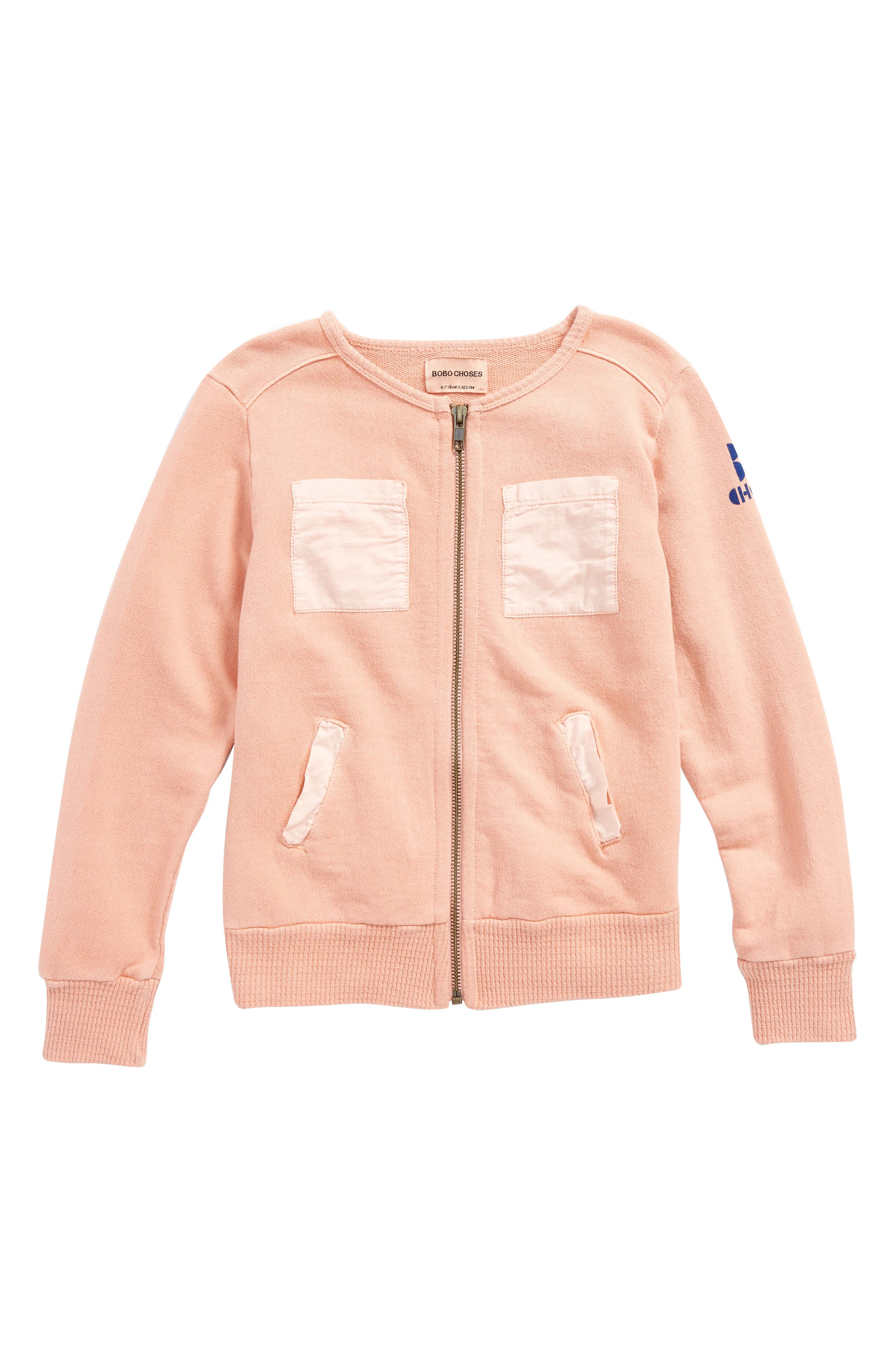 Organic Cotton Zip Jacket,                         Main,                         color, Lobster Bisque