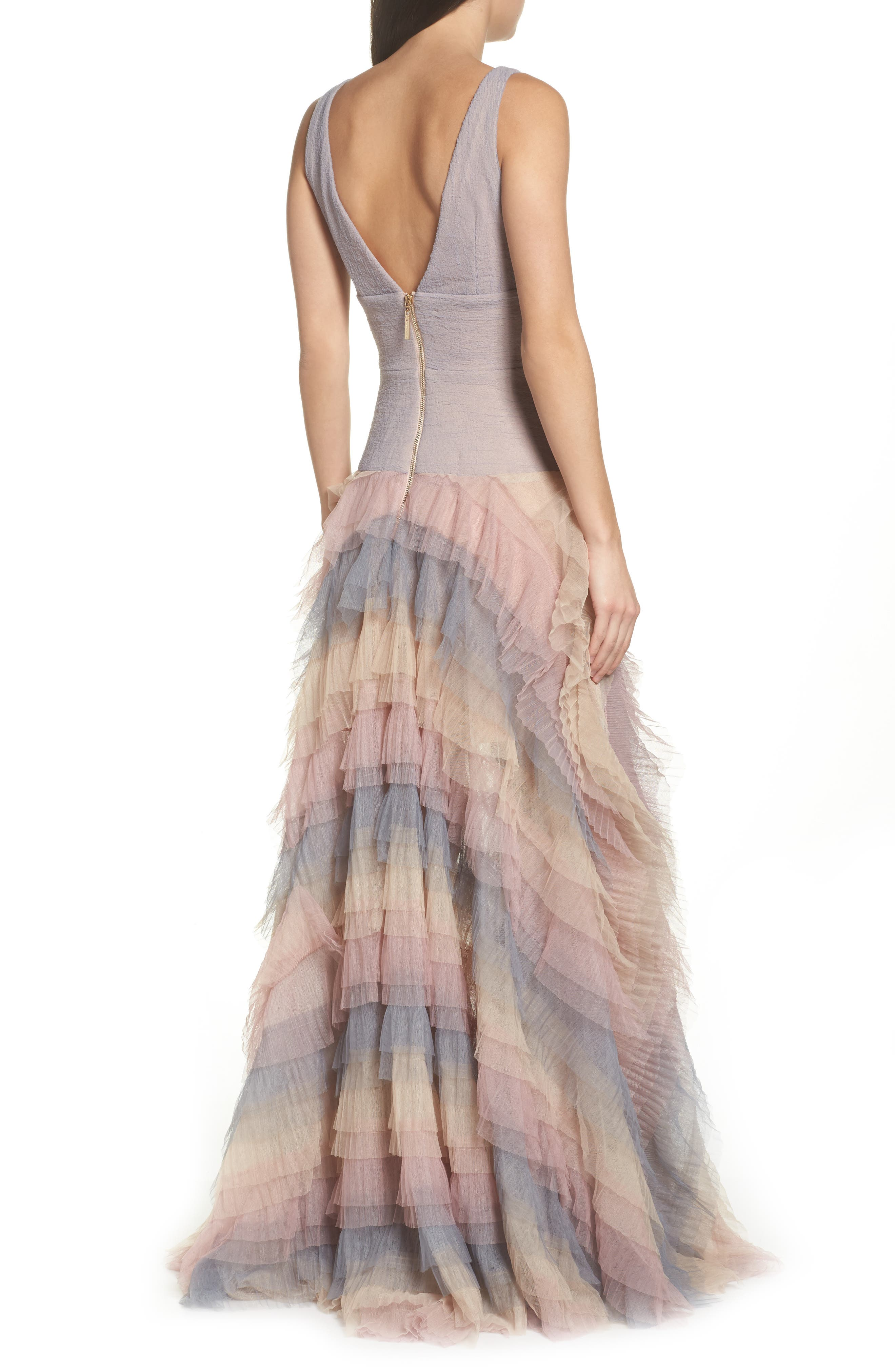 Amelia Tier Ruffle Gown,                             Alternate thumbnail 2, color,                             Multicolor