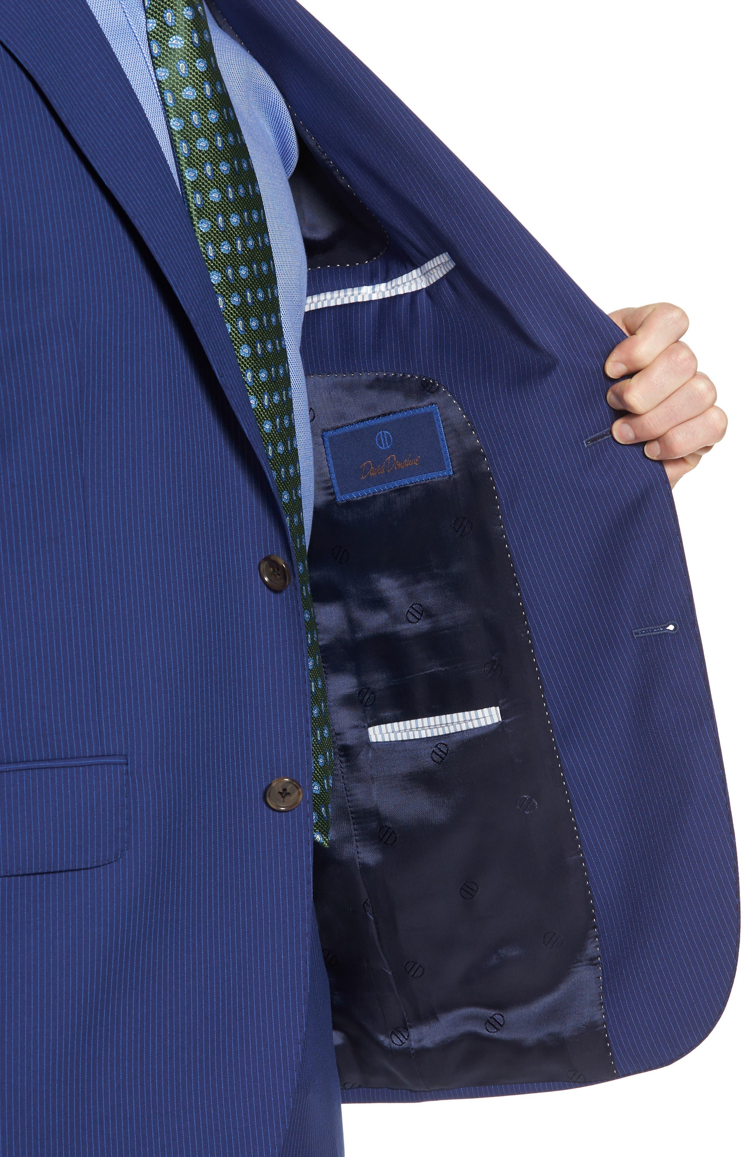 Ryan Classic Fit Stripe Wool Suit,                             Alternate thumbnail 4, color,                             Medium Blue