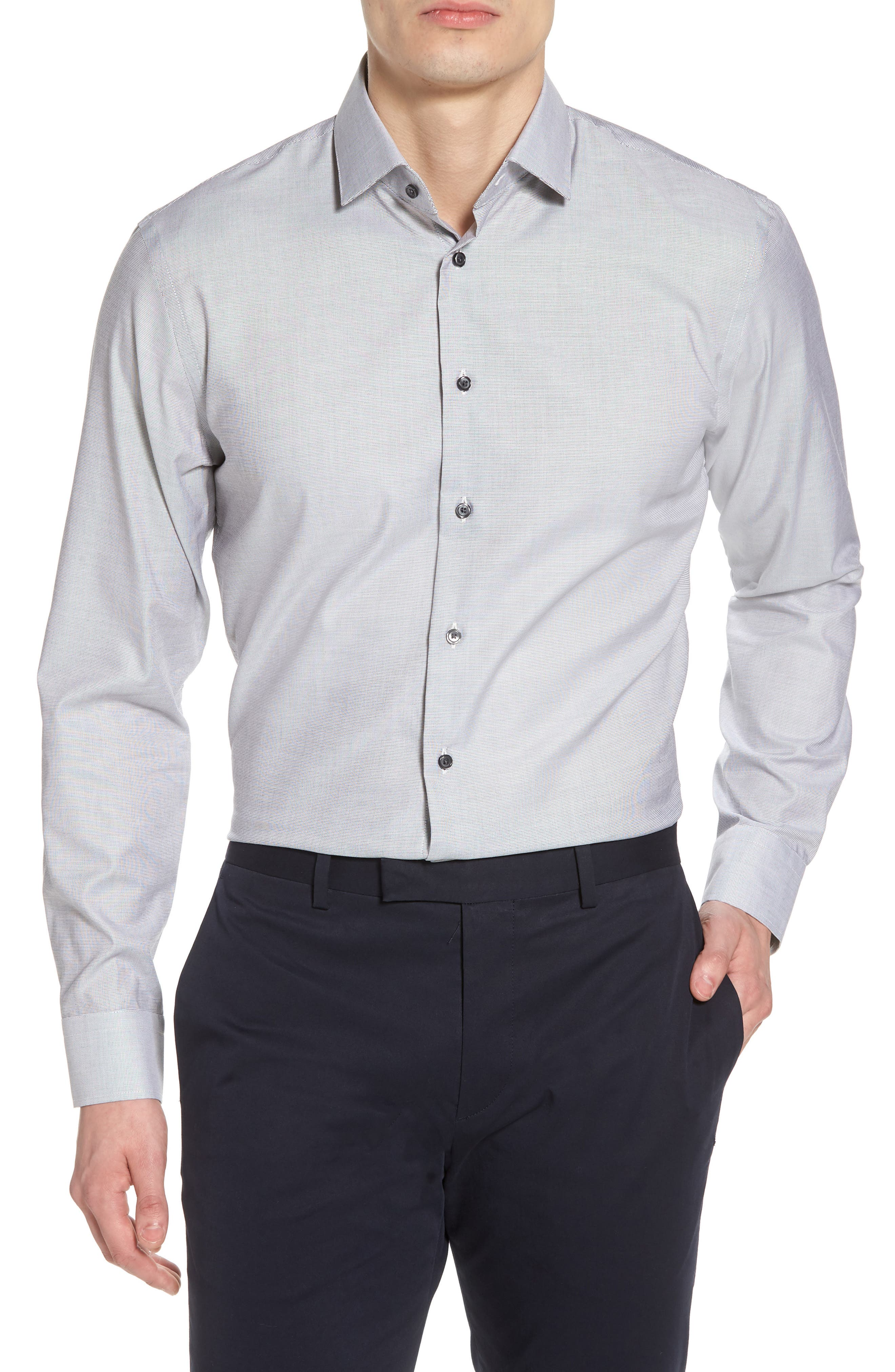 Trim Fit Non-Iron Stretch Solid Dress Shirt,                         Main,                         color, Grey Sconce
