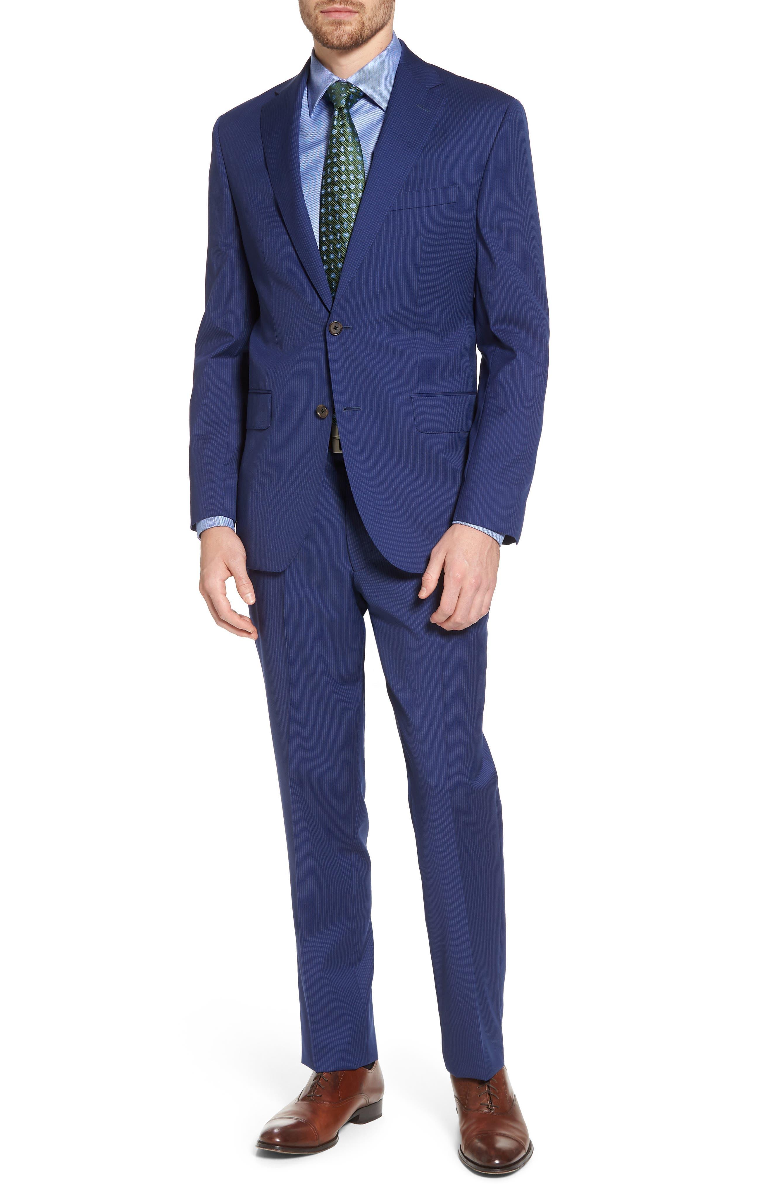 Ryan Classic Fit Stripe Wool Suit,                         Main,                         color, Medium Blue